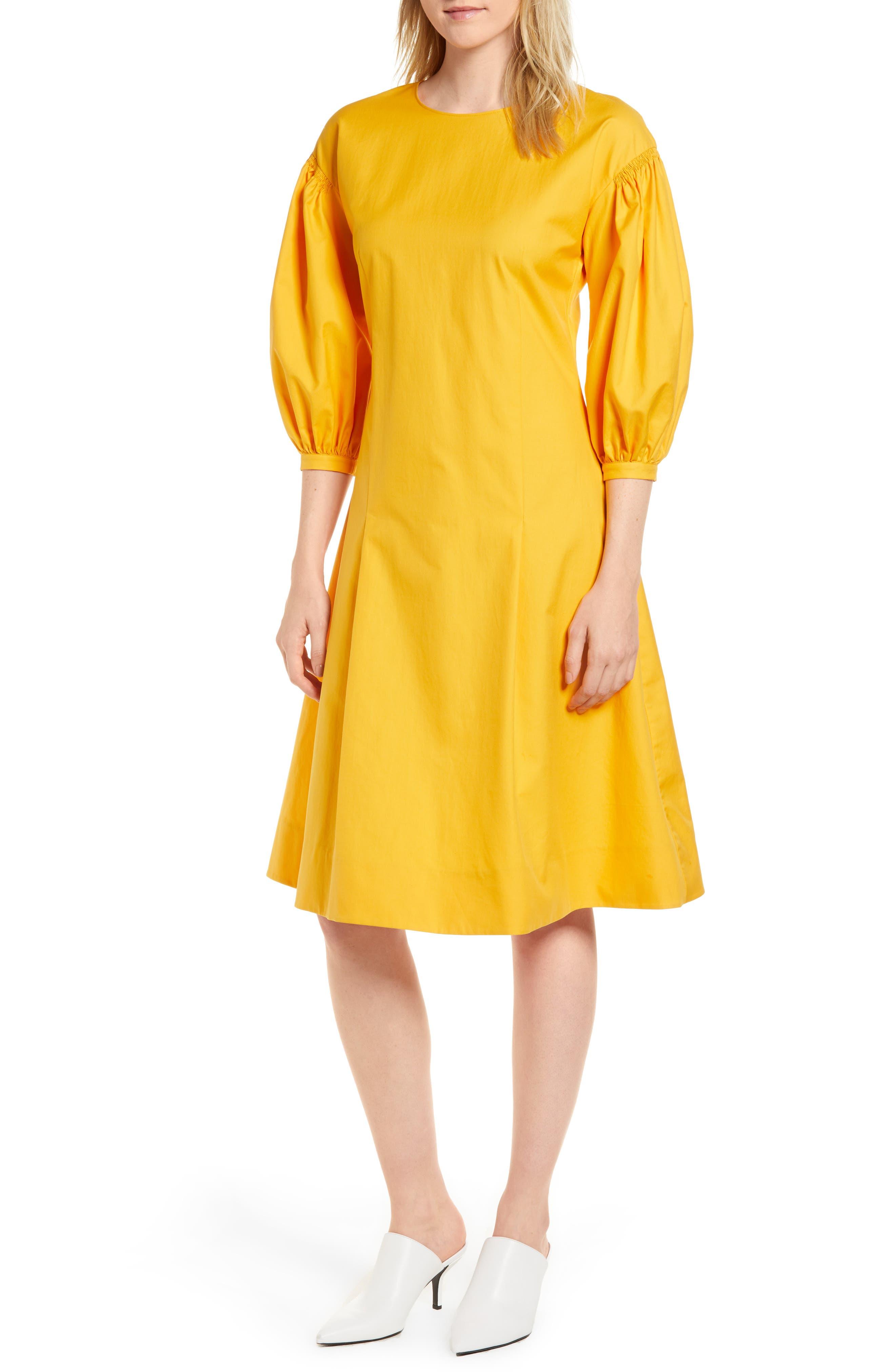 Blouson Sleeve A-Line Twill Dress,                             Main thumbnail 2, color,