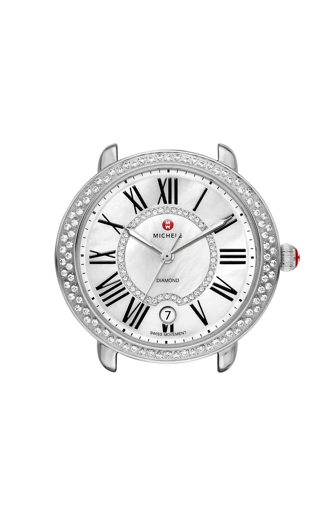 Serein 16 Diamond Watch Case, 34mm x 36mm,                         Main,                         color, SILVER/ WHITE