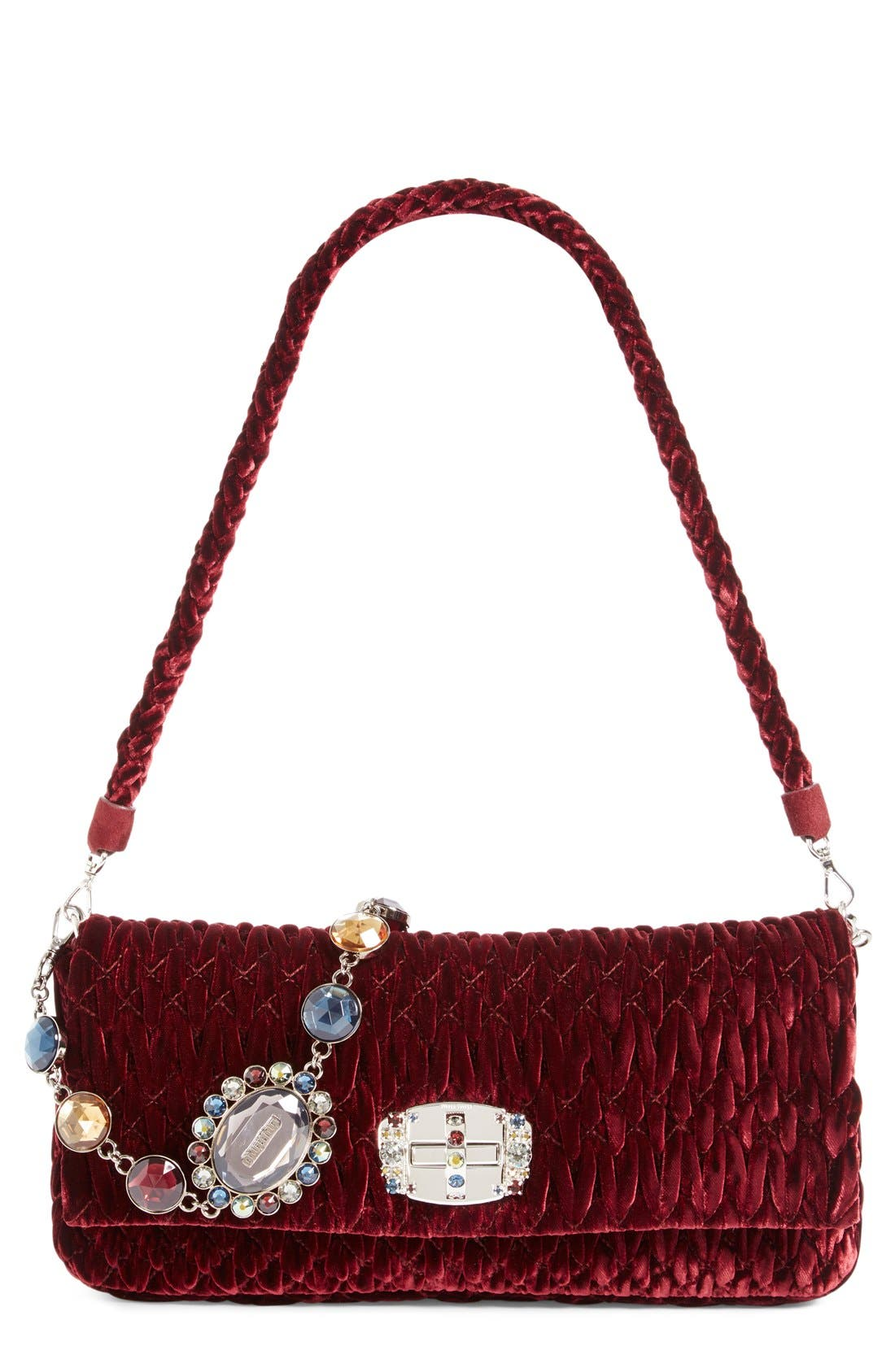 Medium Crystal Embellished Quilted Velvet Shoulder Bag,                             Alternate thumbnail 4, color,                             BORDEAUX