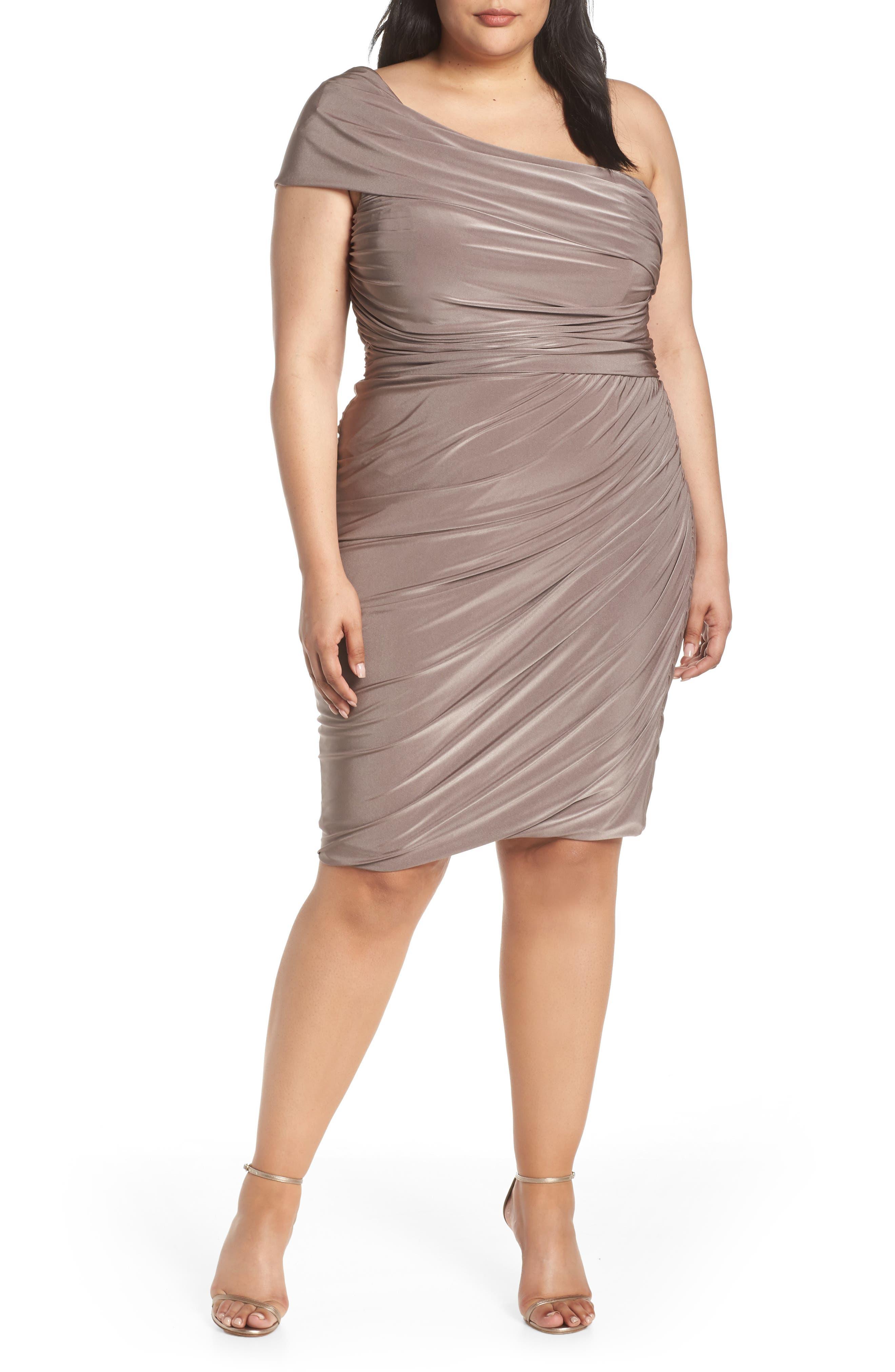 Plus Size Eliza J Ruched One-Shoulder Body-Con Cocktail Dress, Beige