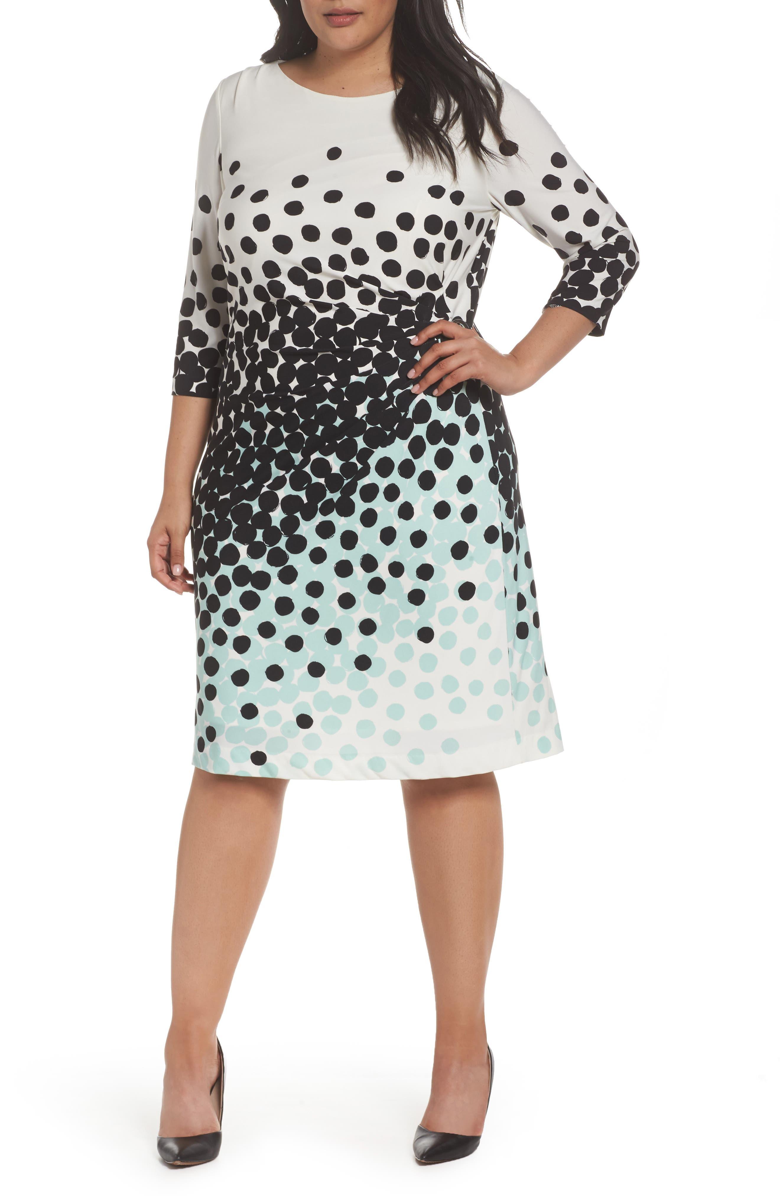 Dot Print Sheath Dress,                             Main thumbnail 1, color,                             001