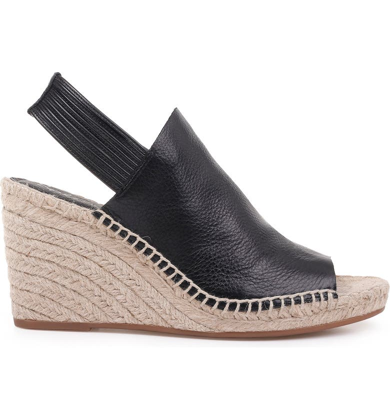 d43c442d05f Women'S Simon Leather Espadrille Wedge Sandals in Black Leather