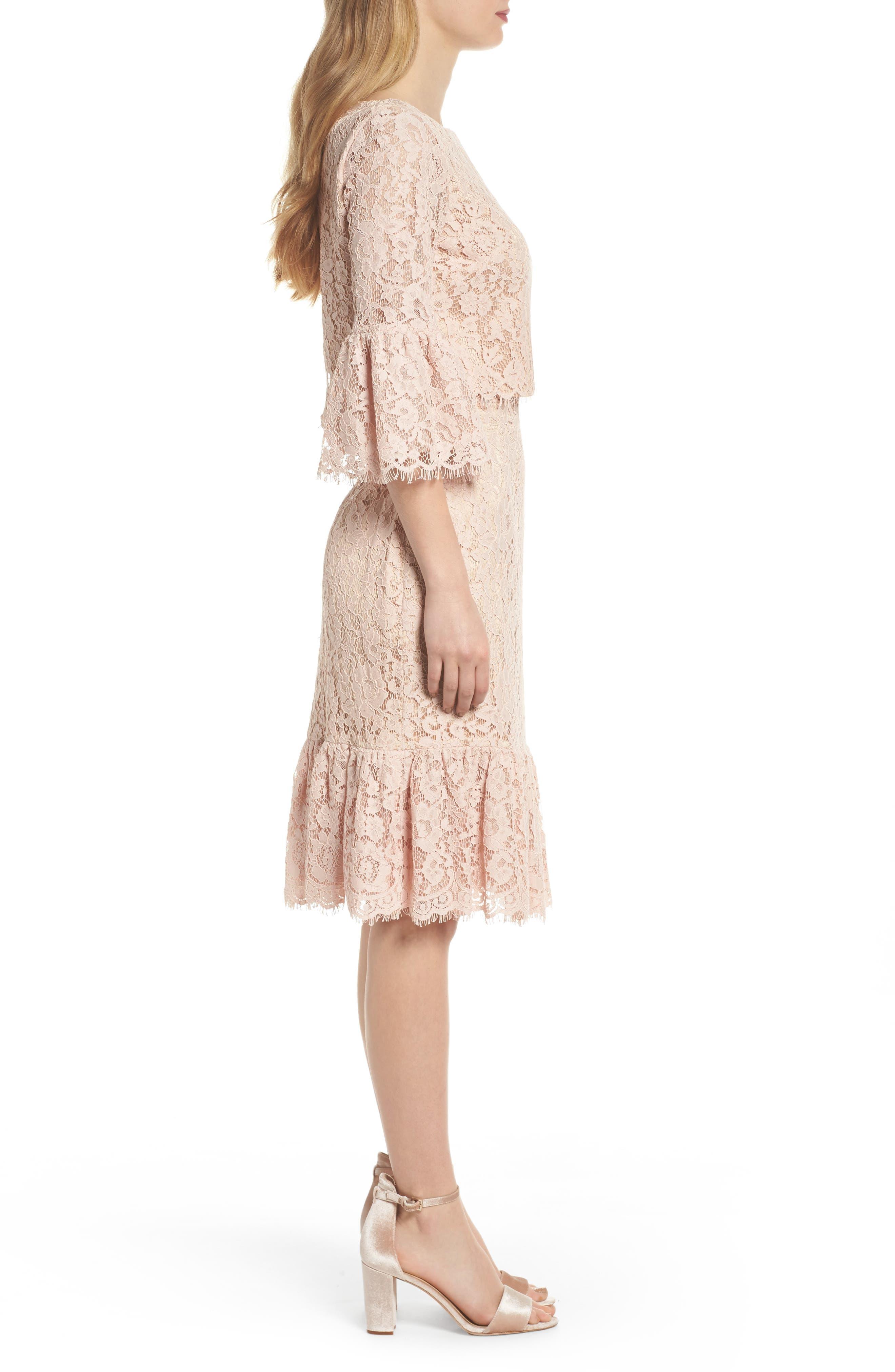 Ruffle Trim Lace Two-Piece Dress,                             Alternate thumbnail 3, color,                             651