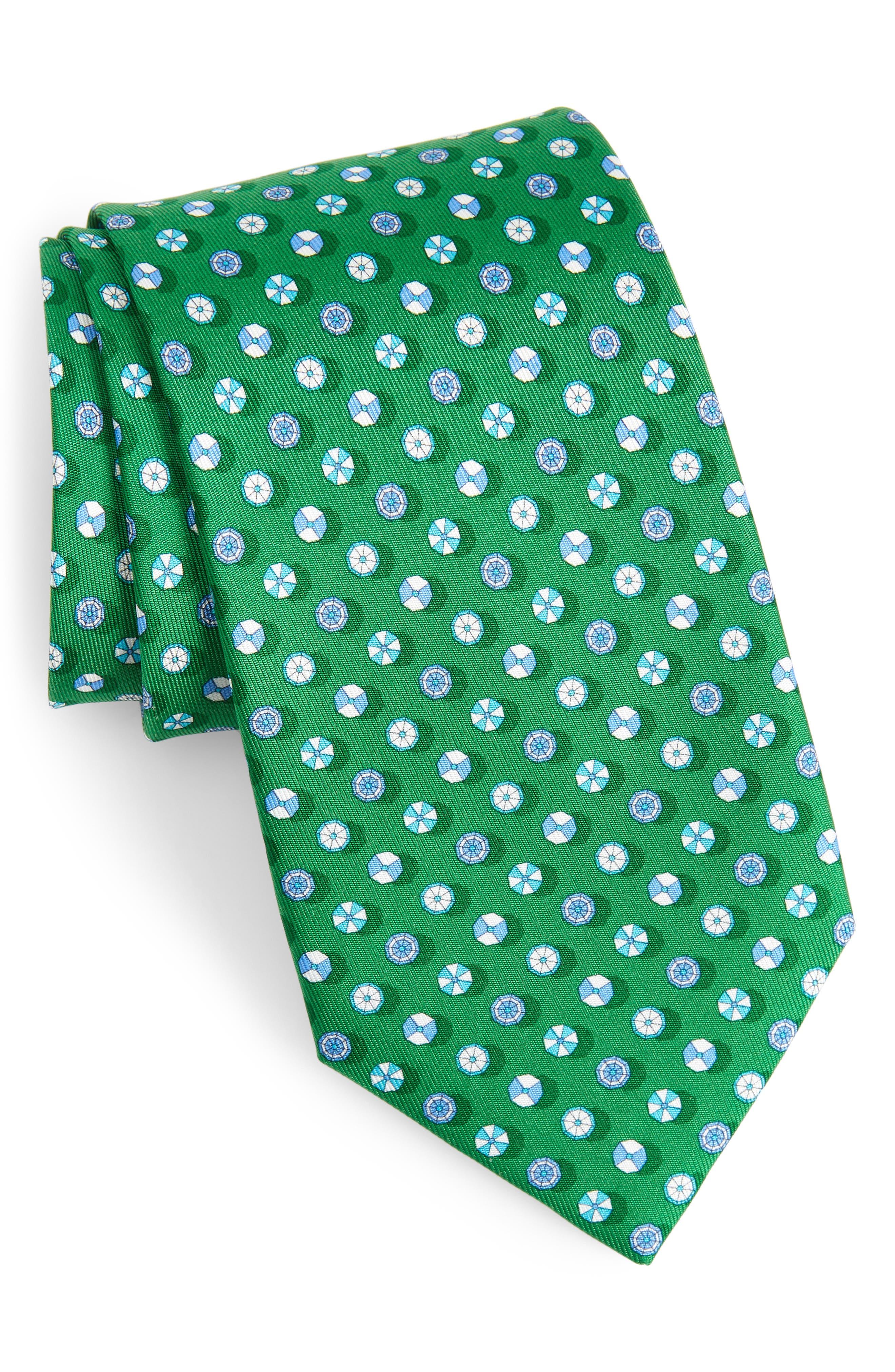 SALVATORE FERRAGAMO Beach Umbrella Silk Tie, Main, color, VERDE / AZZU