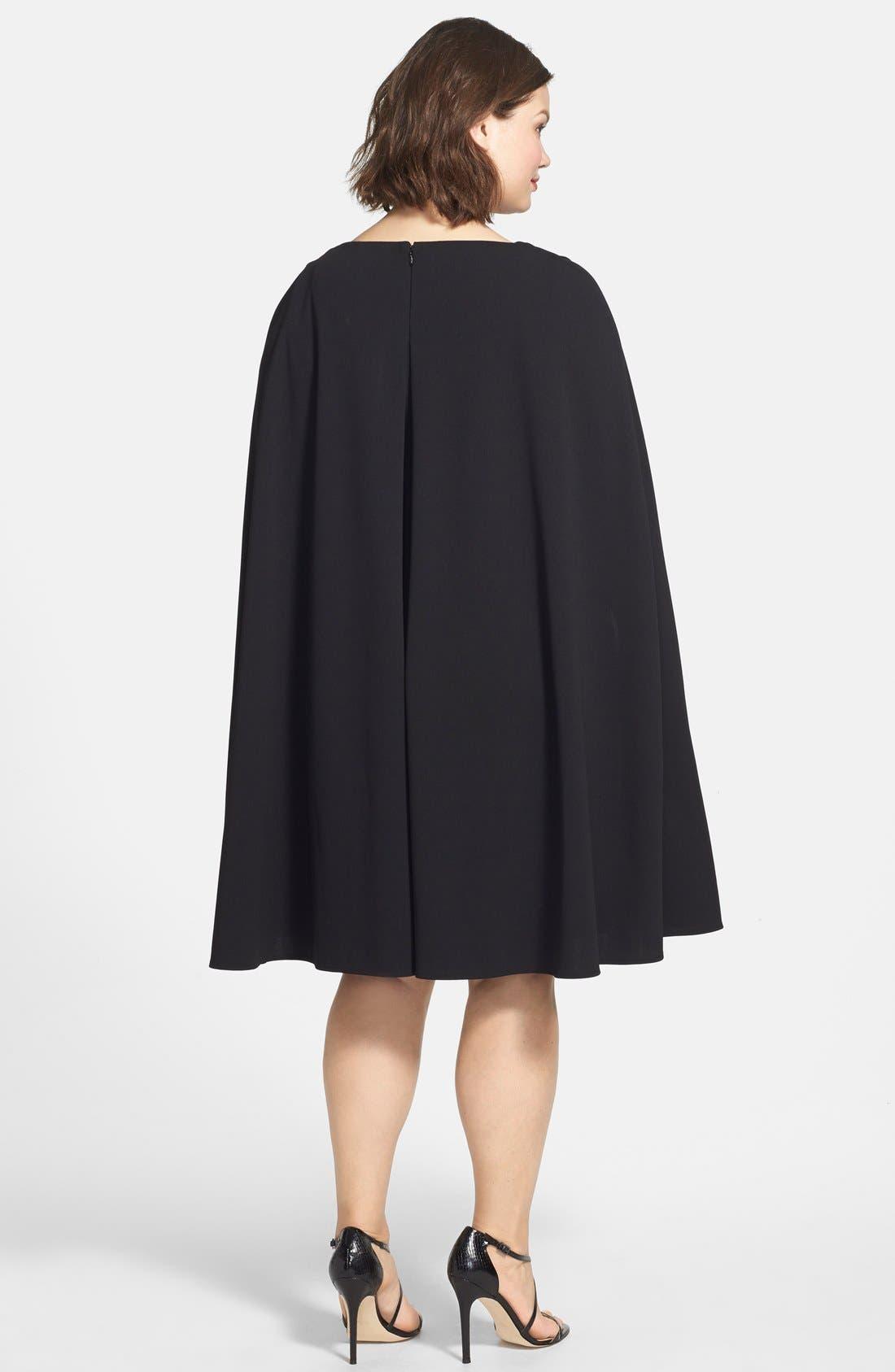 Cape Sheath Dress,                             Alternate thumbnail 9, color,                             001