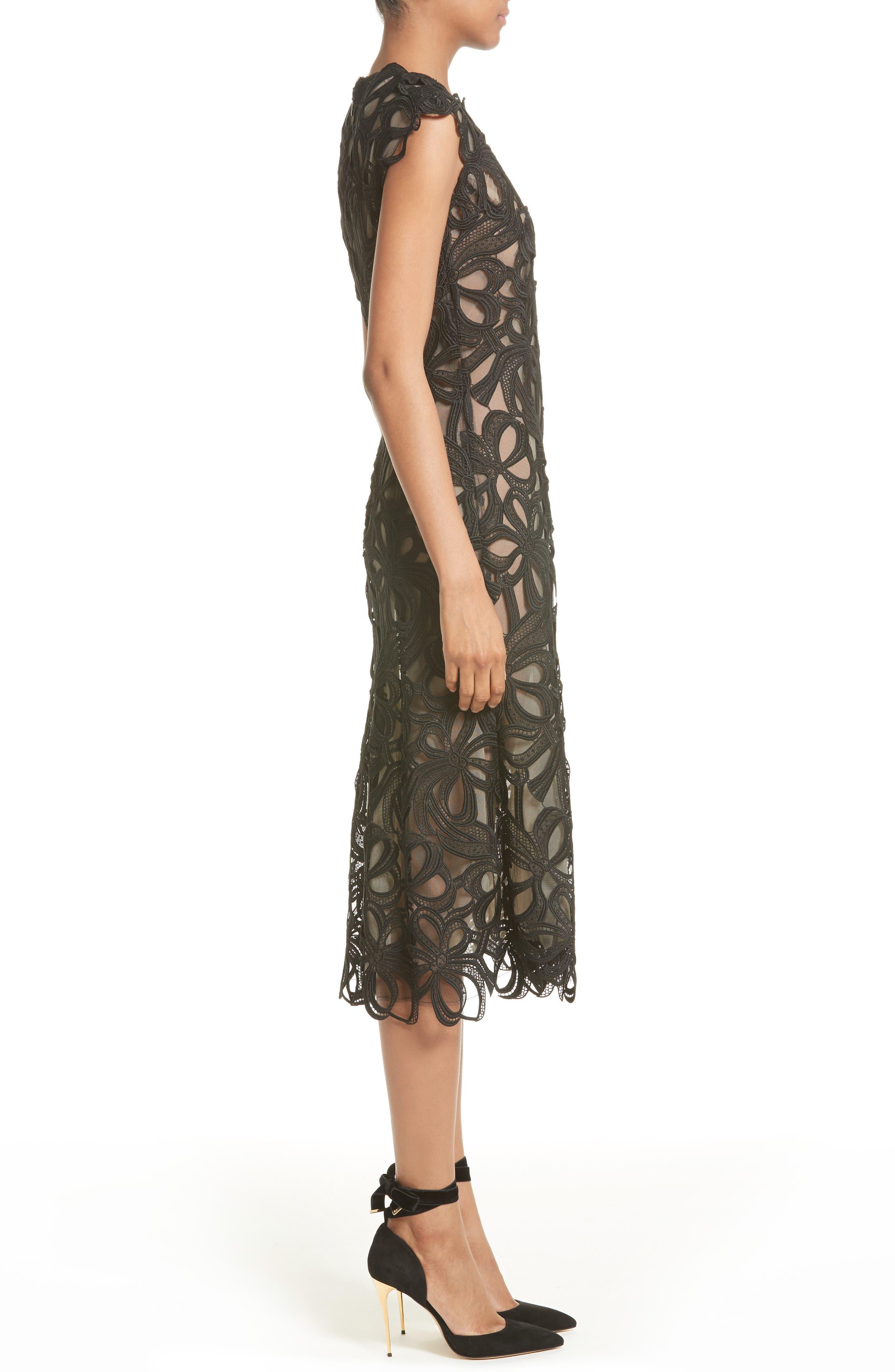 Ribbon Guipure Lace Midi Dress,                             Alternate thumbnail 3, color,                             001