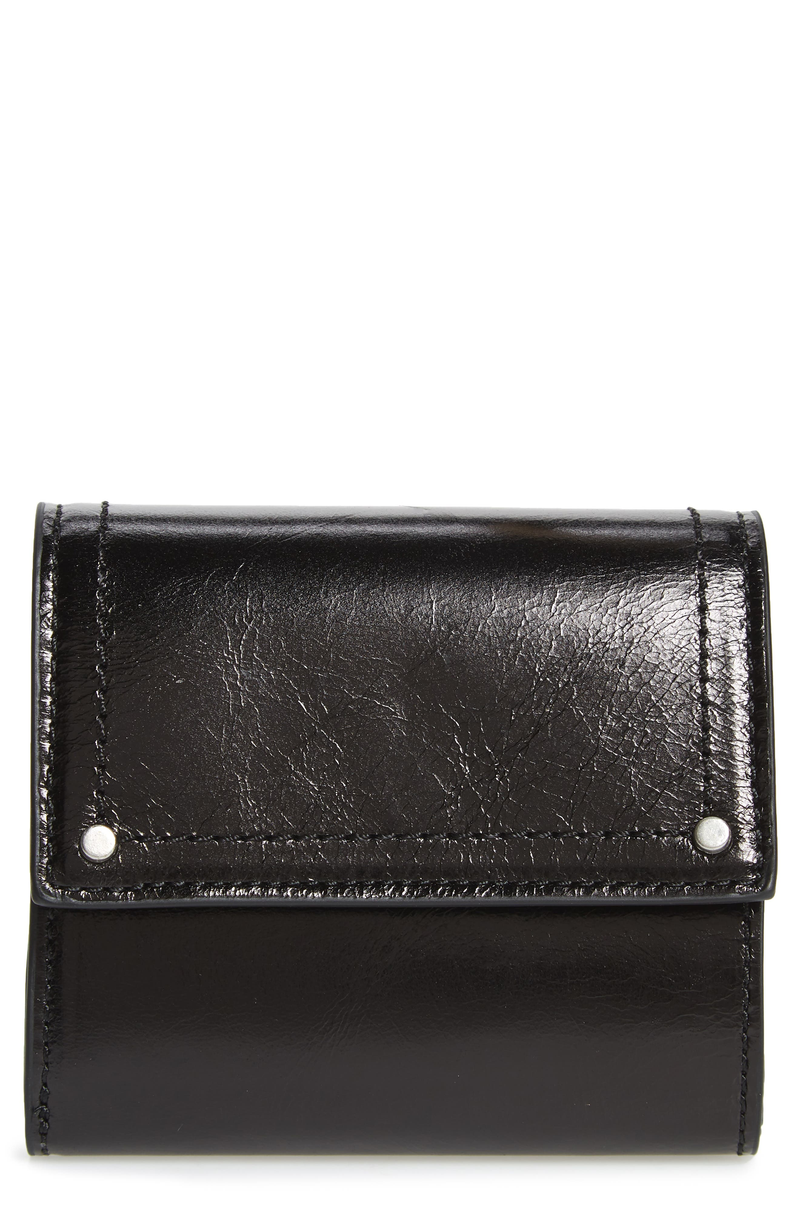 Tracy Leather Trifold Wallet,                             Main thumbnail 1, color,                             BLACK