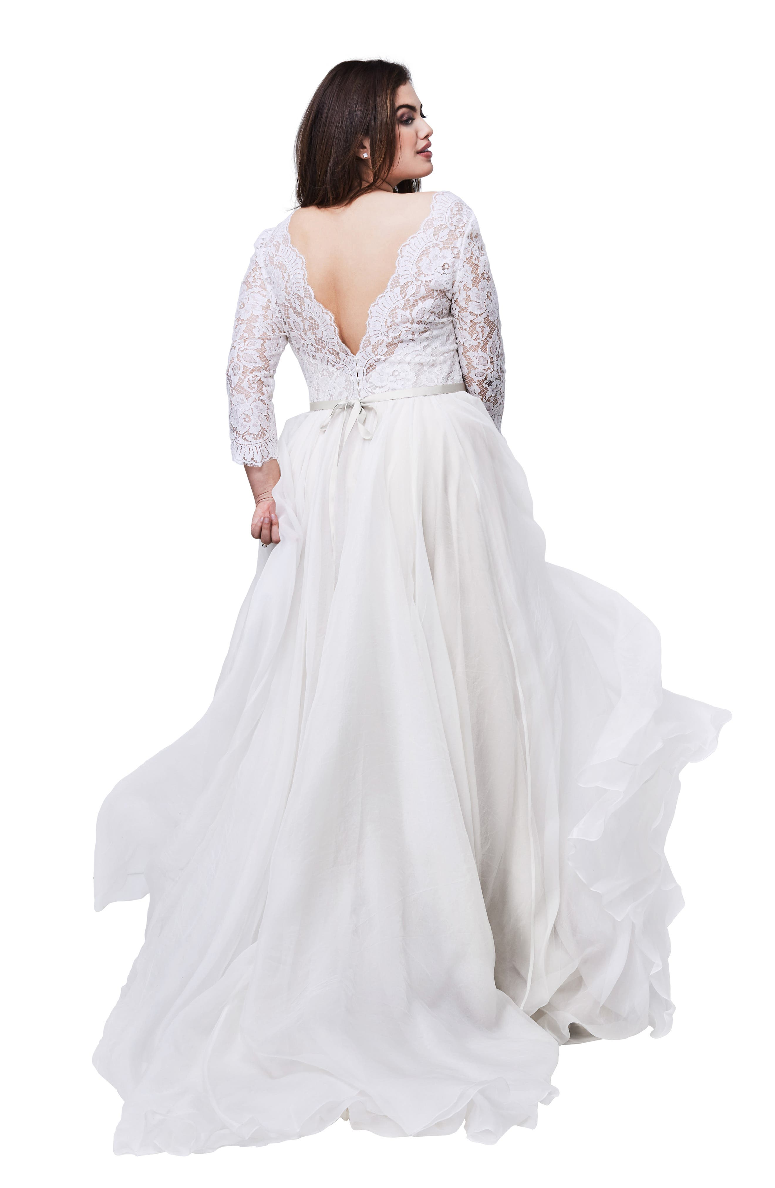 WATTERS,                             Shiloh Lace & Silk Organza A-Line Gown,                             Alternate thumbnail 2, color,                             IVORY