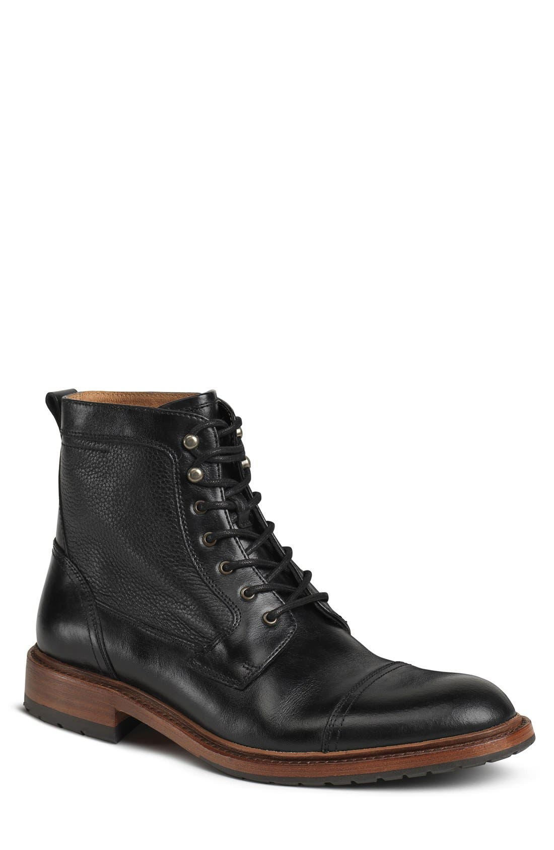 'Lowell' Cap Toe Boot,                             Main thumbnail 1, color,                             BLACK