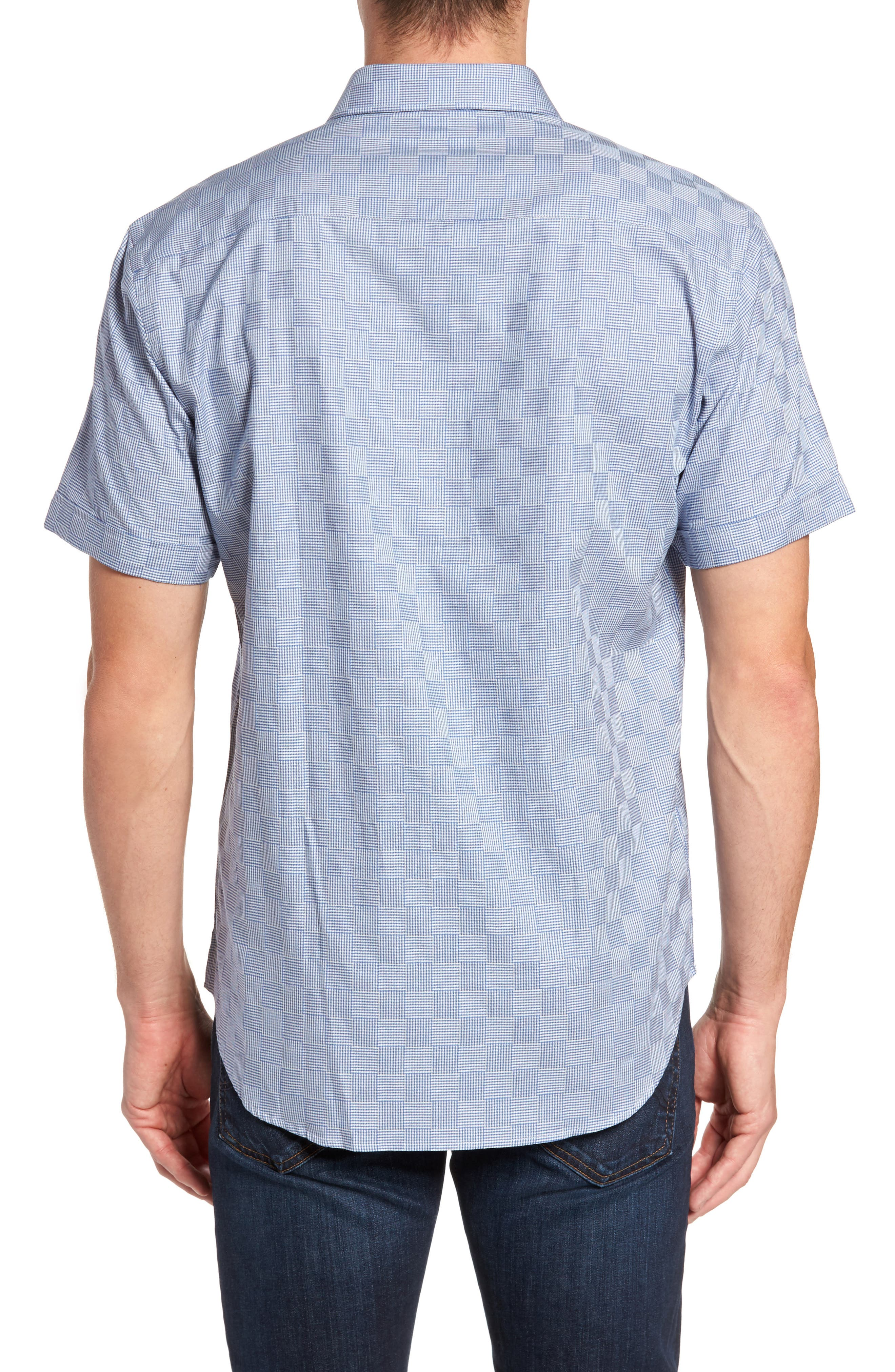 Shaped Fit Houndstooth Check Sport Shirt,                             Alternate thumbnail 2, color,                             420