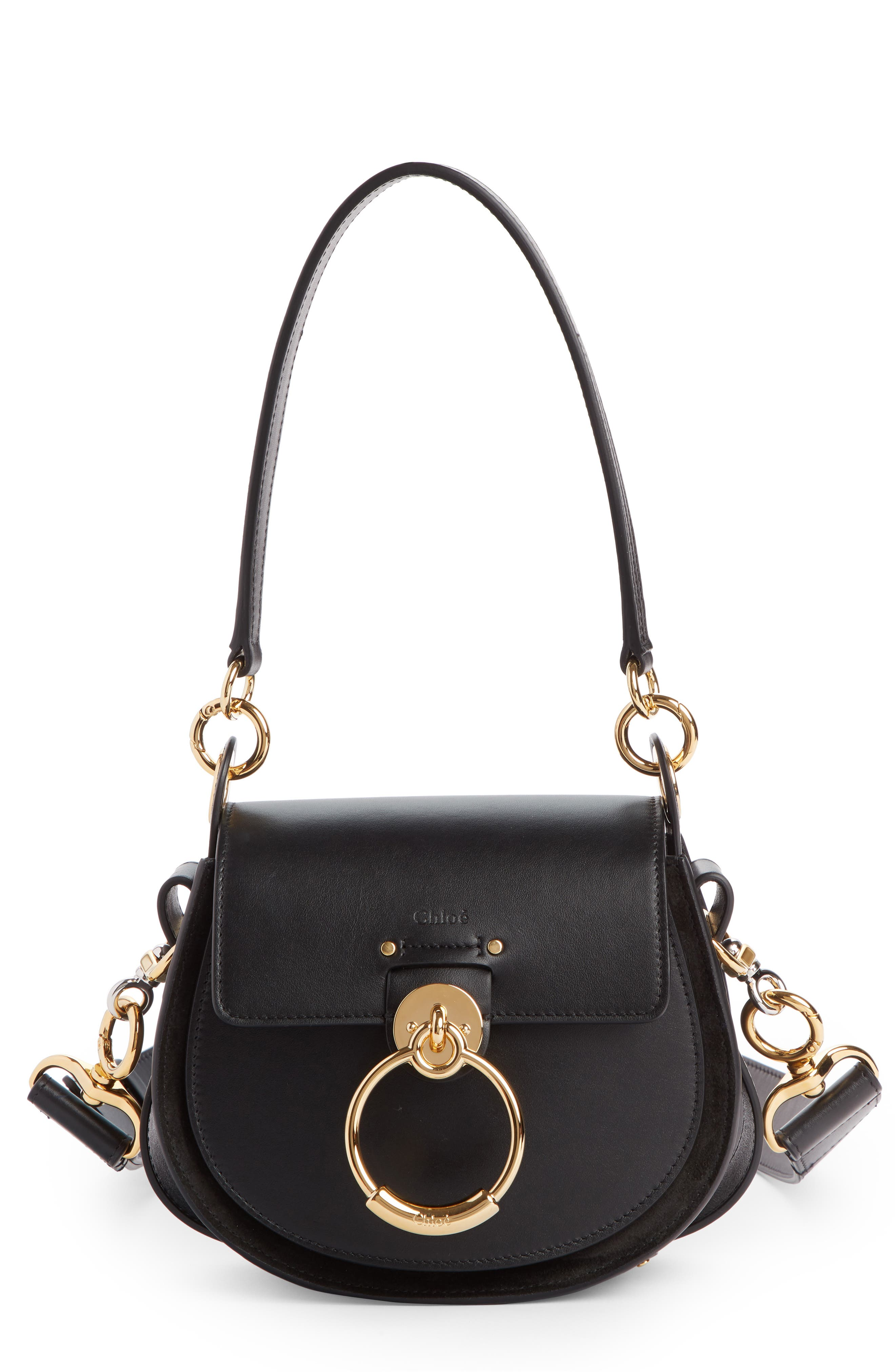 Small Tess Calfskin Leather Shoulder Bag,                             Main thumbnail 1, color,                             BLACK