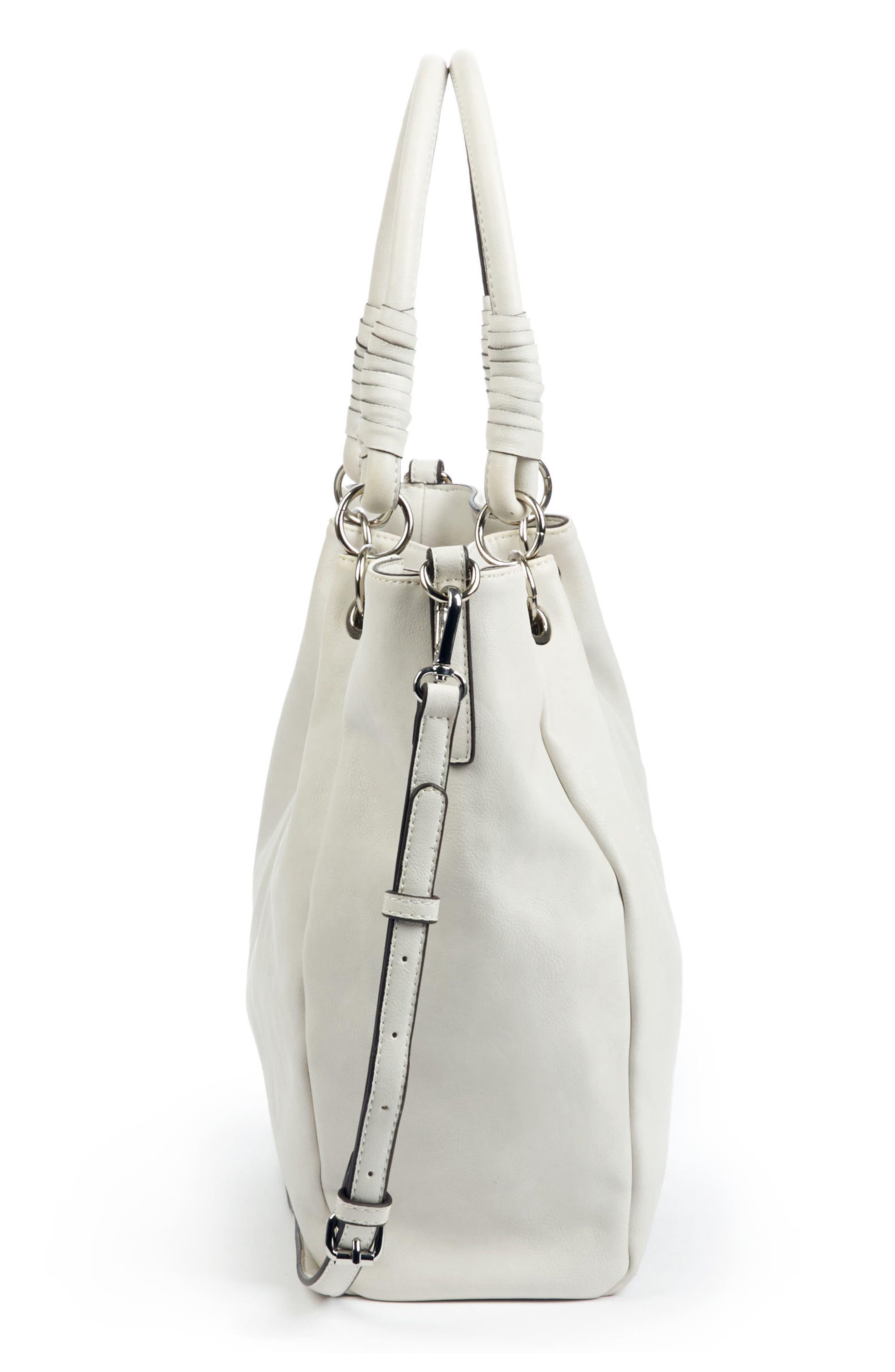 Top Handle Faux Leather Crossbody Bag,                             Alternate thumbnail 5, color,                             101