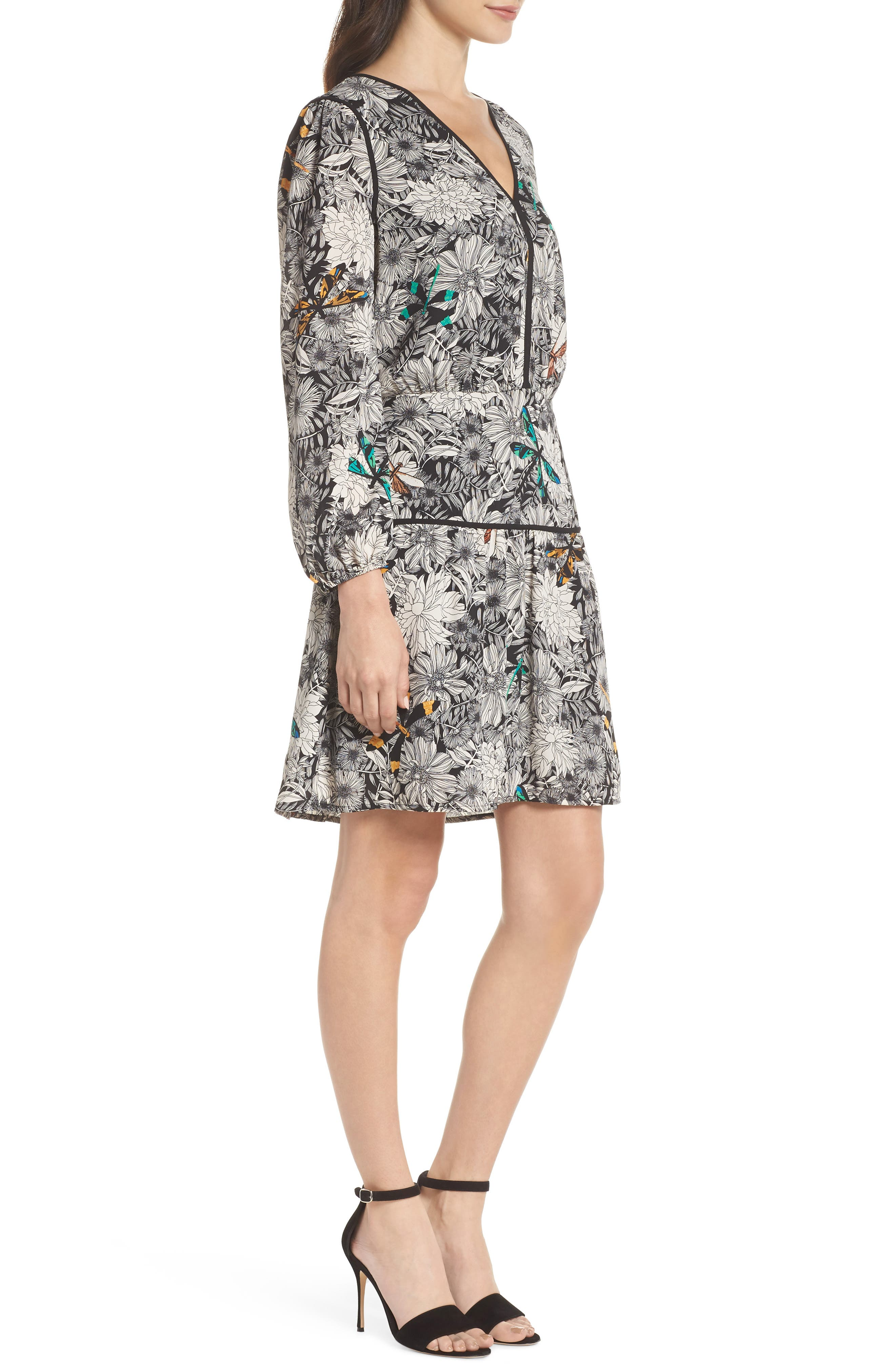 Print Blouson Dress,                             Alternate thumbnail 3, color,                             001