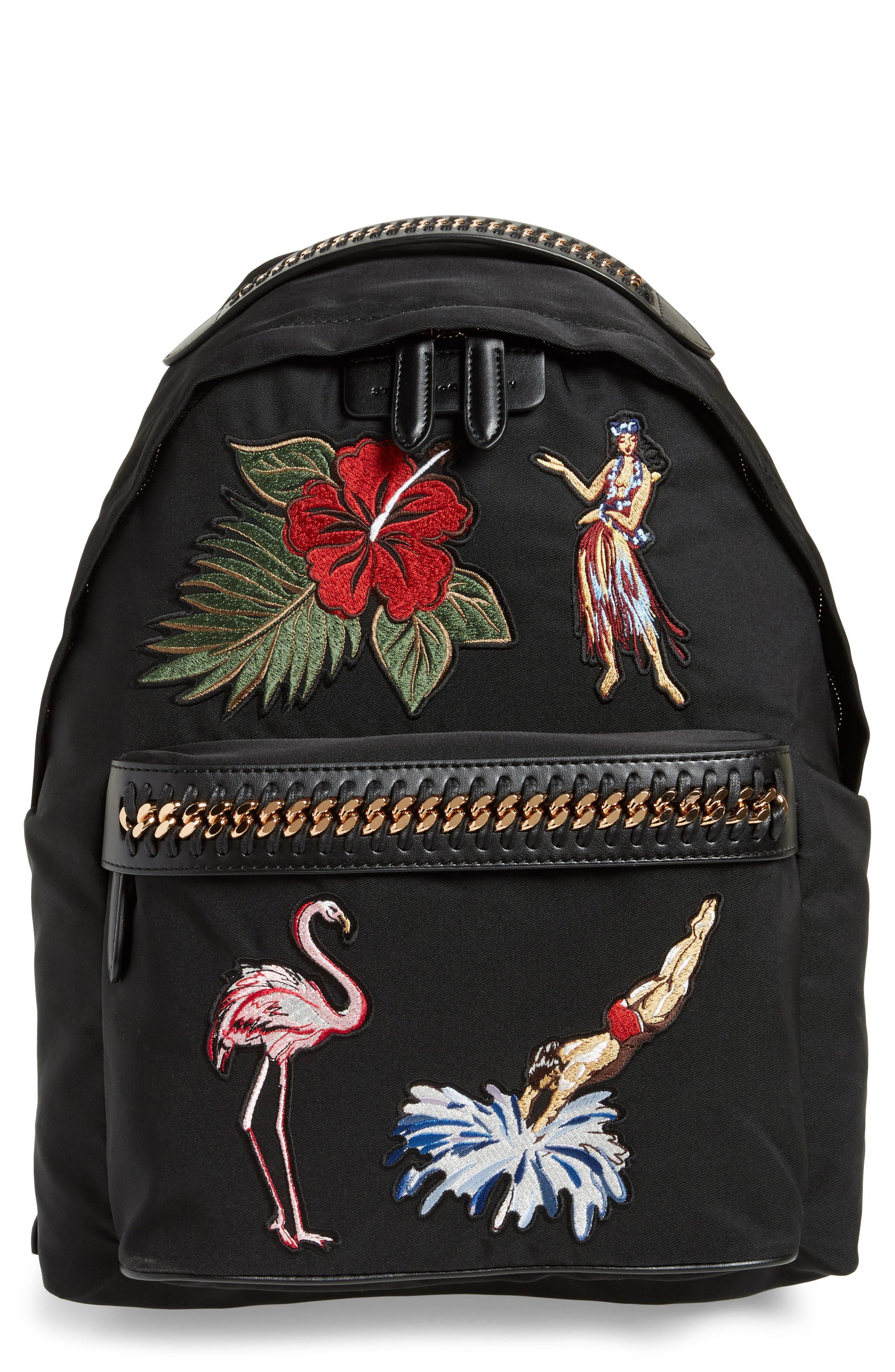 Falabella Vintage Tropical Embroidery Backpack,                             Main thumbnail 1, color,