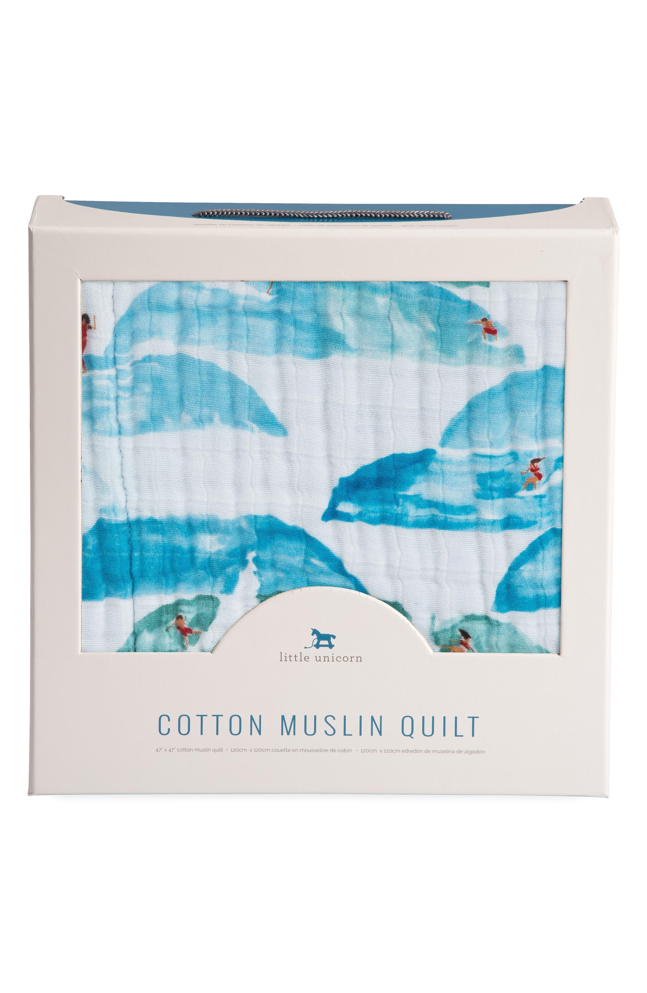 Cotton Muslin Quilt,                             Alternate thumbnail 4, color,                             SURF