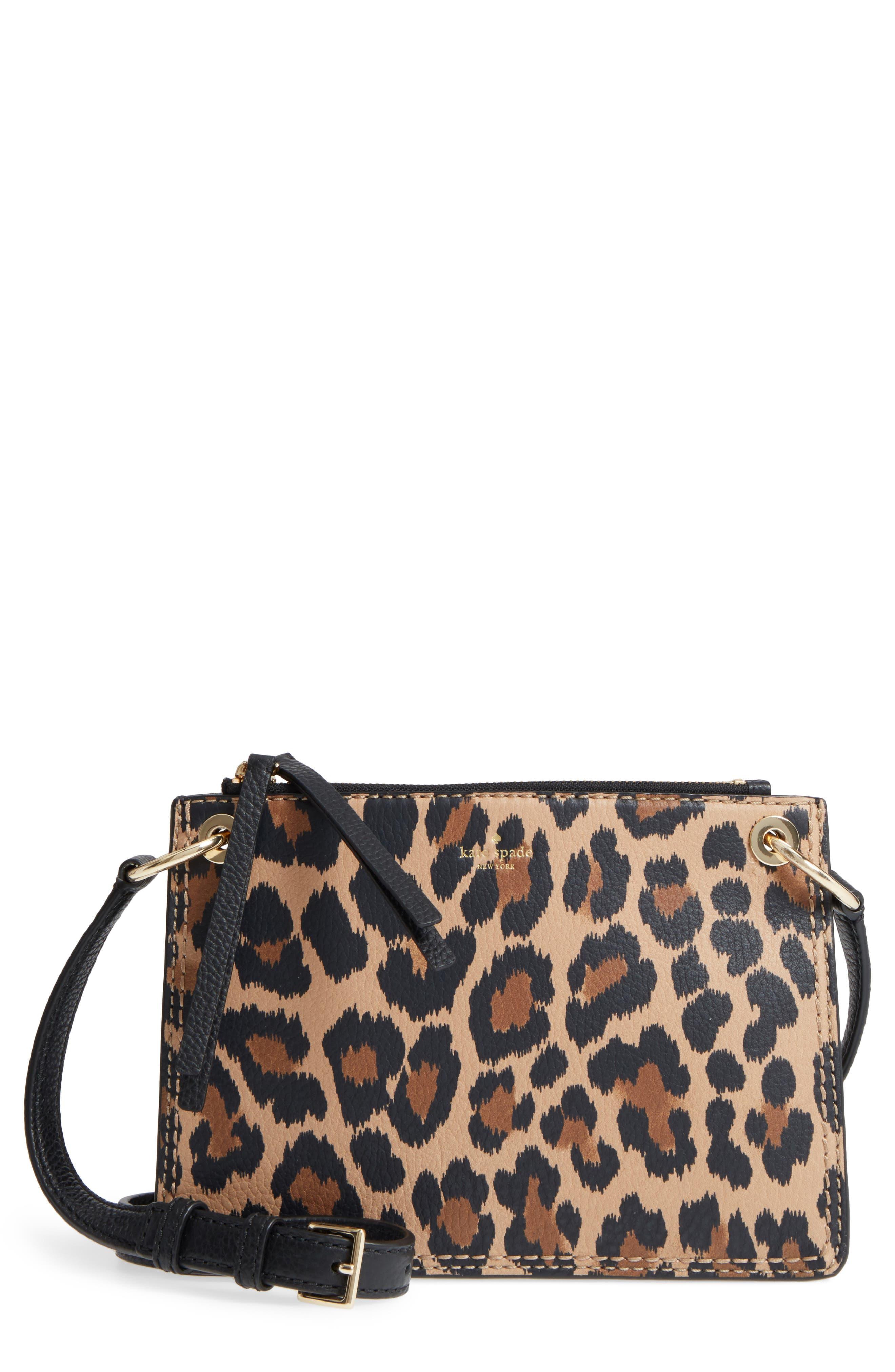 dunne lane - leopard caro leather crossbody bag,                             Main thumbnail 1, color,                             200