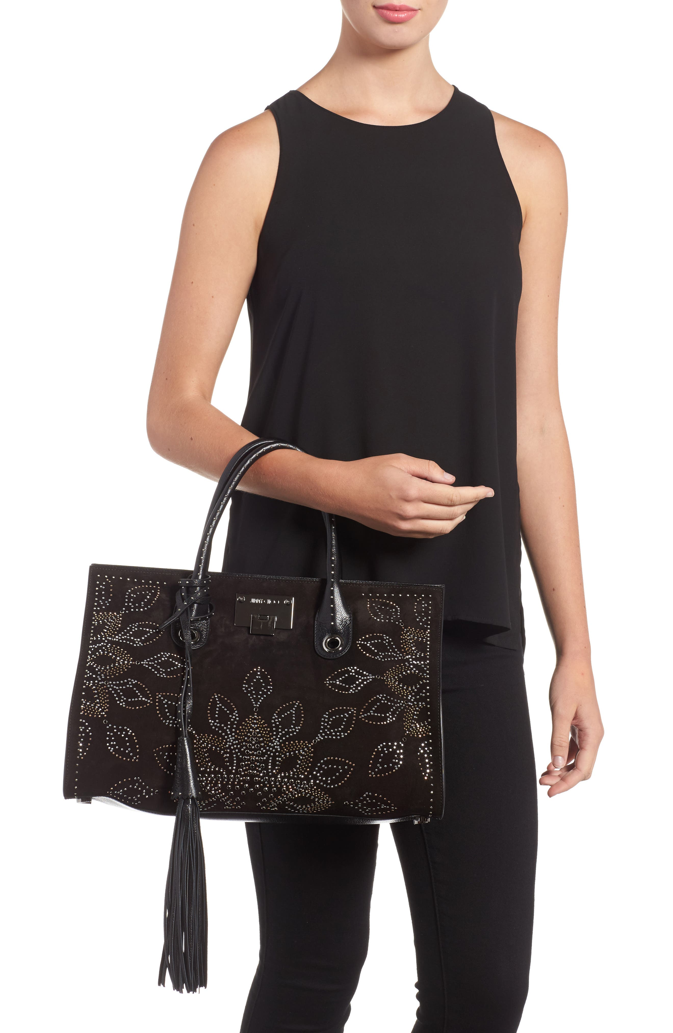 Riley Micro Studded Leather Tote,                             Alternate thumbnail 2, color,                             001