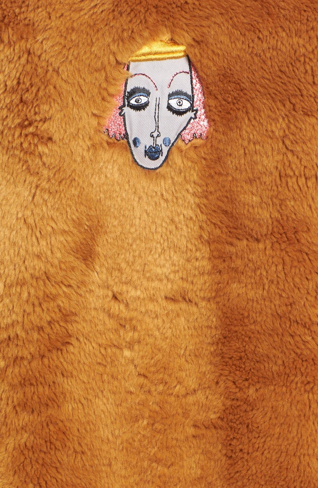 'Frenchie' Faux Fur Coat with Patches,                             Alternate thumbnail 3, color,                             240