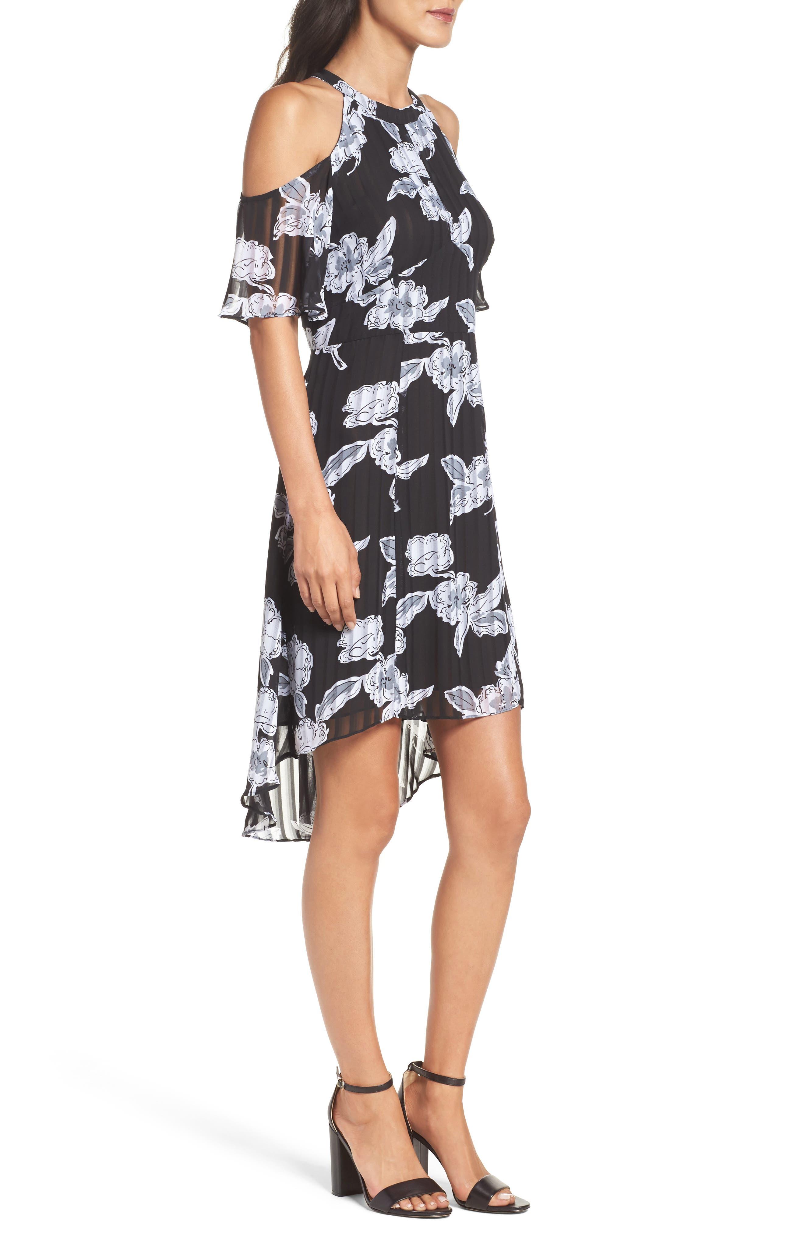 Print Cold Shoulder Dress,                             Alternate thumbnail 3, color,                             011