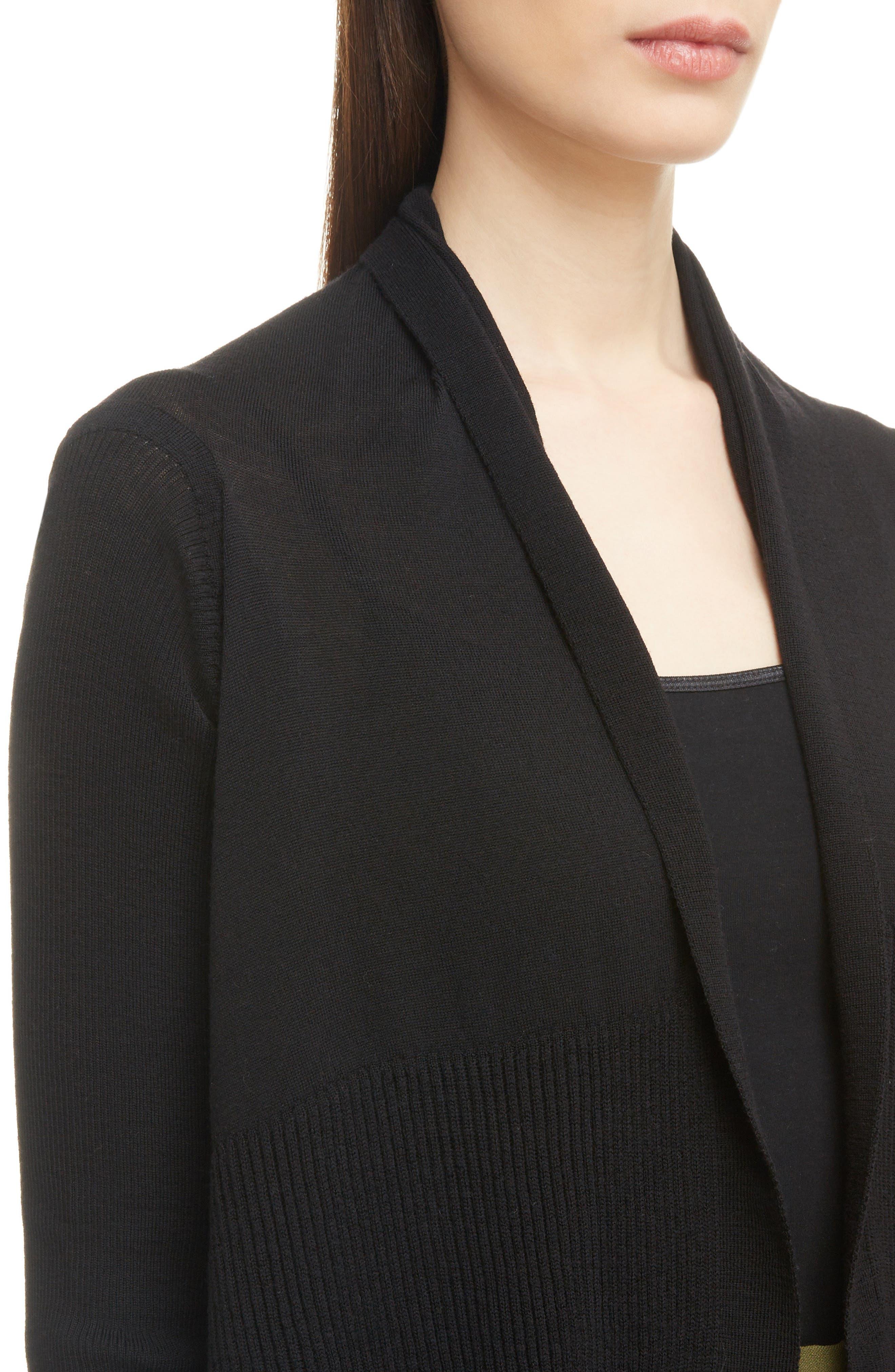 Merino Wool Drape Cardigan,                             Alternate thumbnail 4, color,                             BLACK