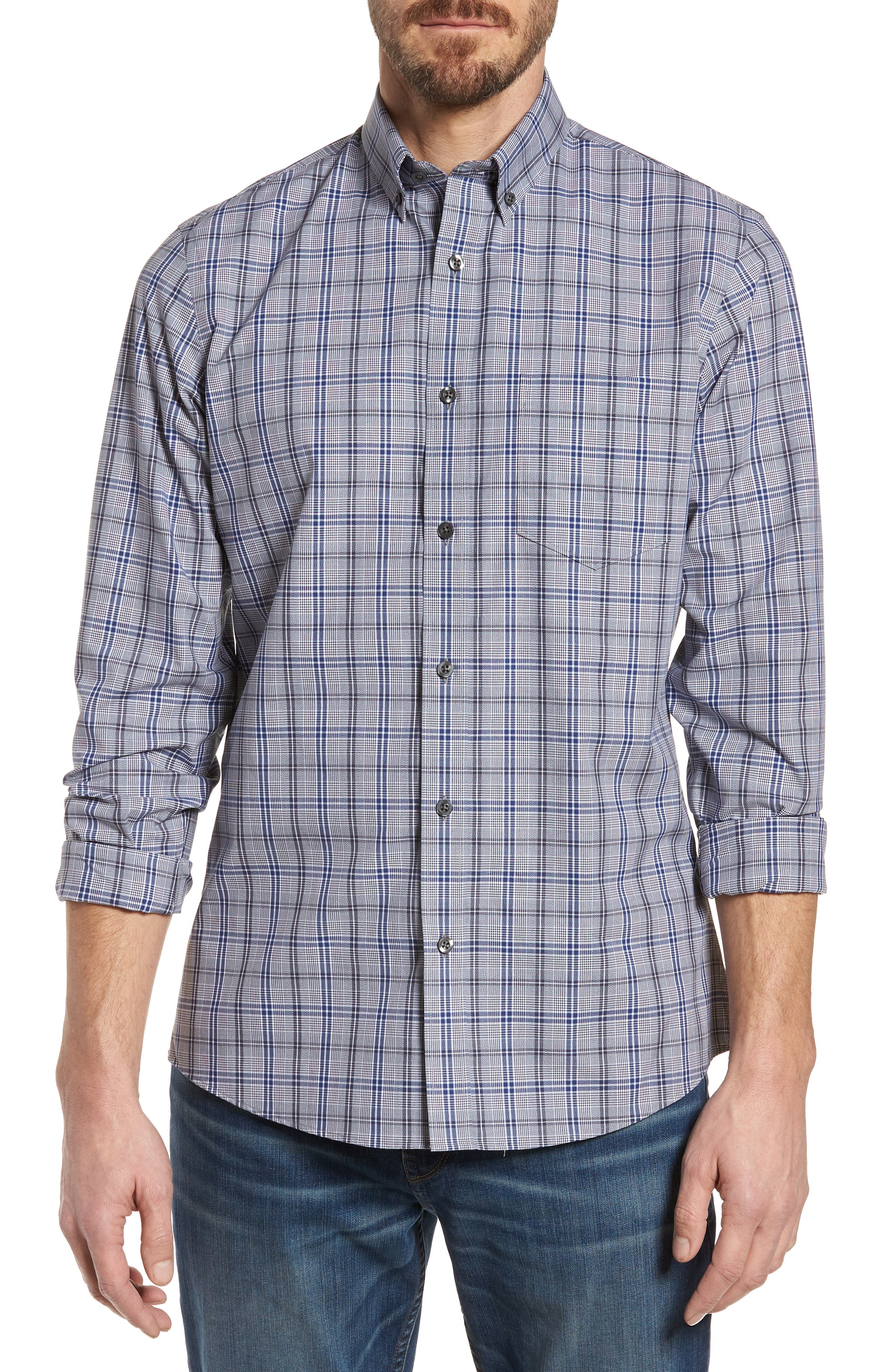 Trim Fit Non-Iron Check Sport Shirt,                             Main thumbnail 1, color,                             030