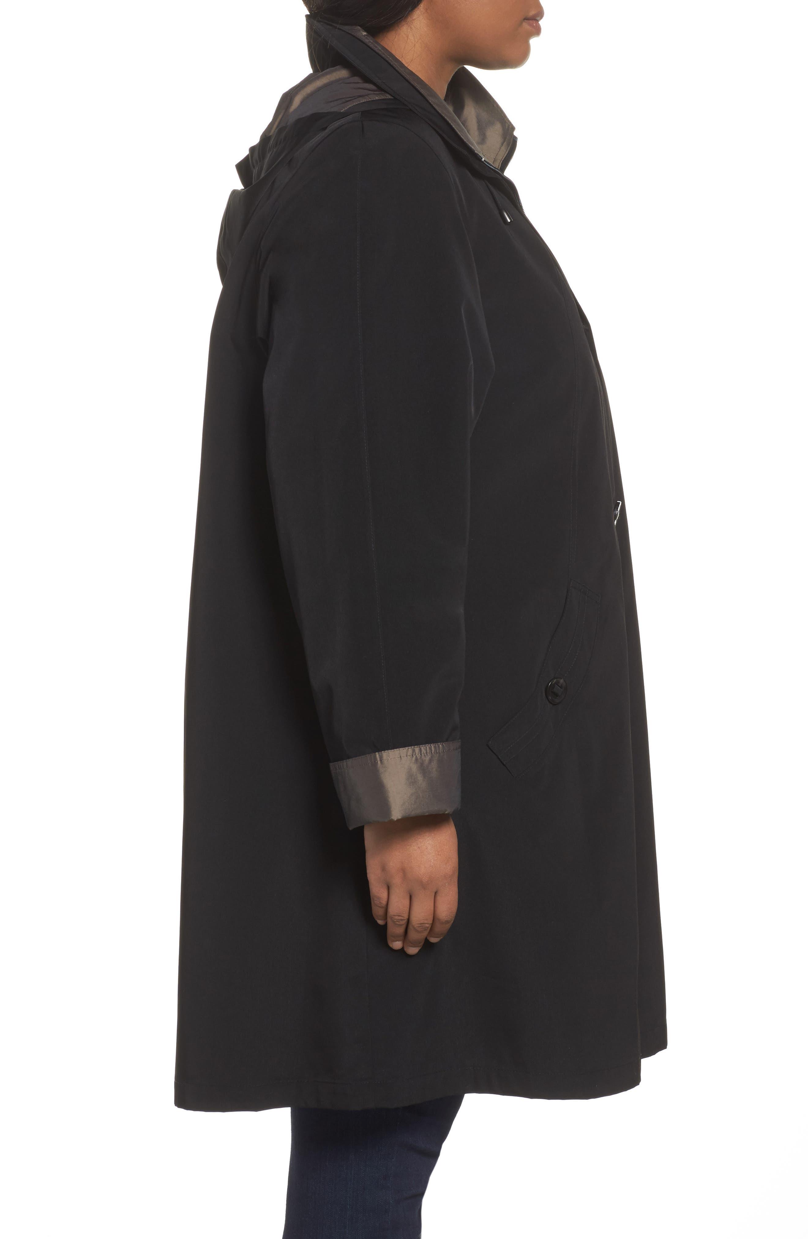 Two-Tone Long Silk Look Raincoat,                             Alternate thumbnail 3, color,                             BLACK