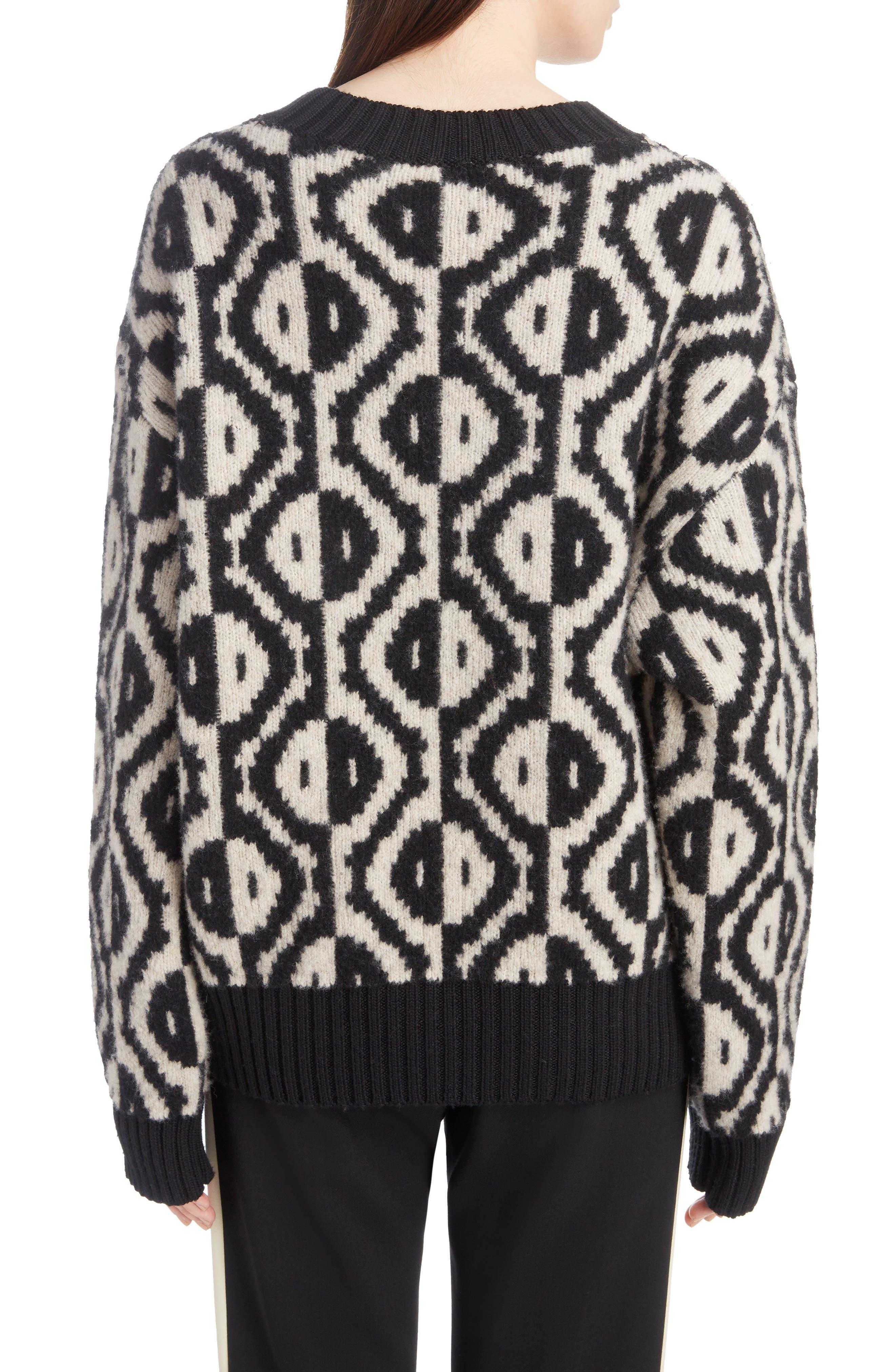 Geo Jacquard Merino Wool Blend Sweater,                             Alternate thumbnail 2, color,                             001