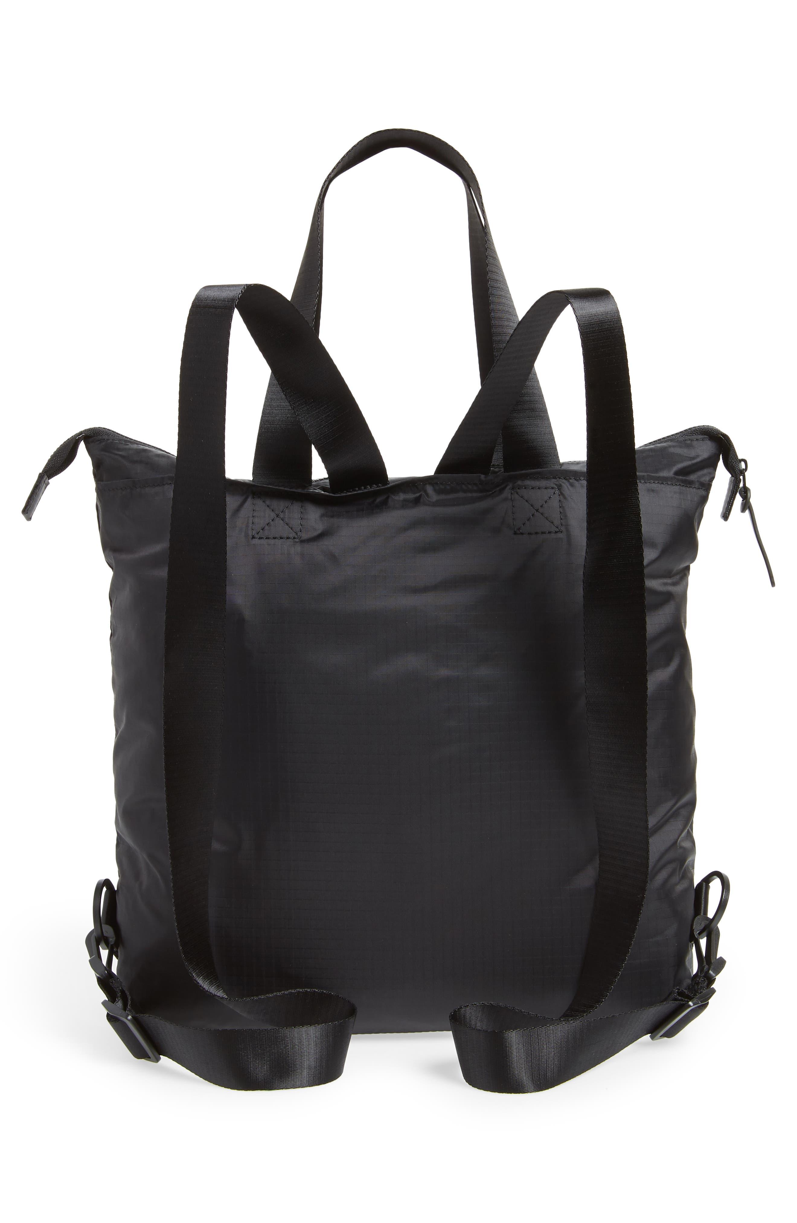 Packable Convertible Backpack,                             Alternate thumbnail 4, color,                             BLACK