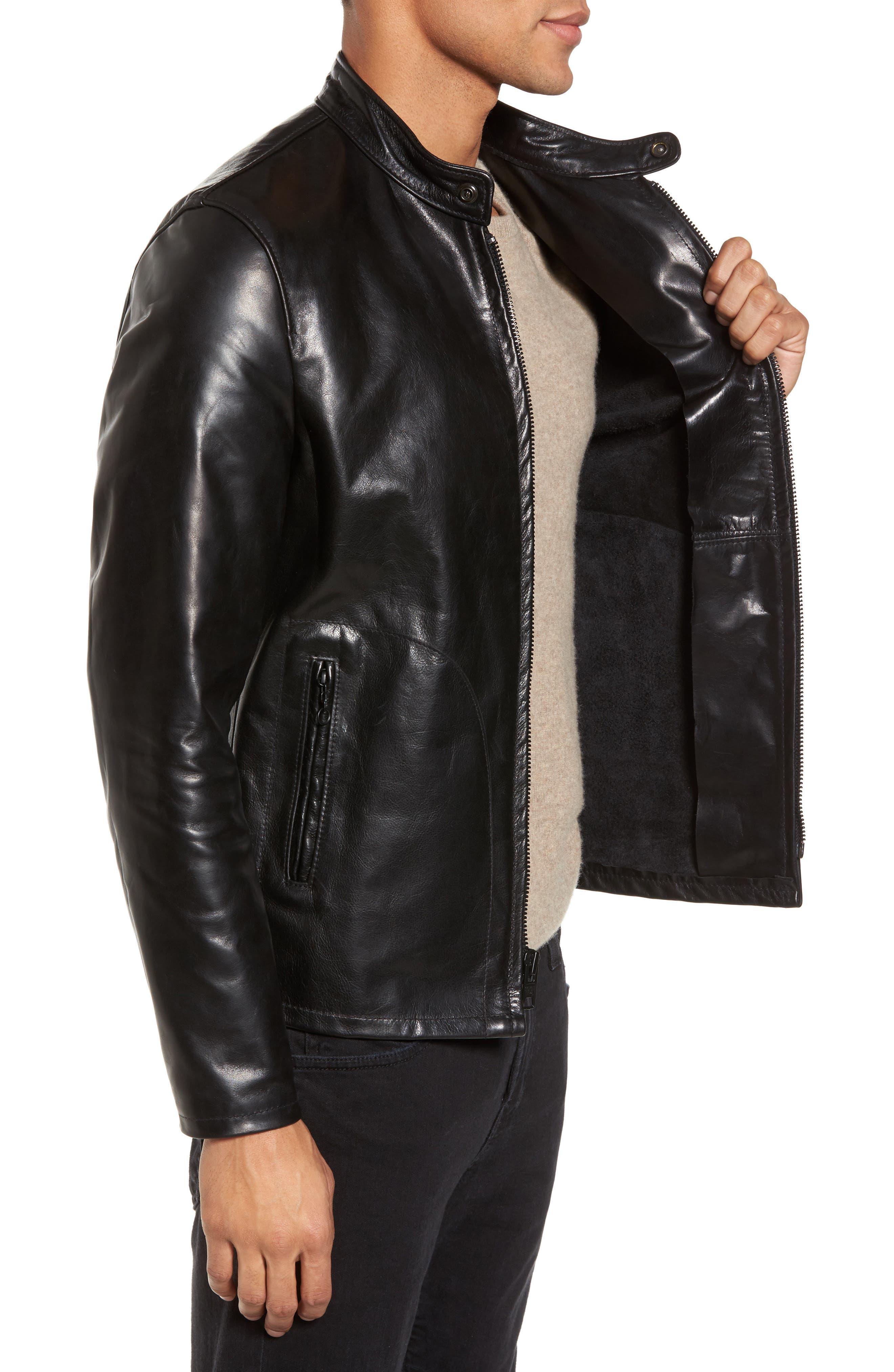 Café Racer Unlined Cowhide Leather Jacket,                             Alternate thumbnail 3, color,                             BLACK