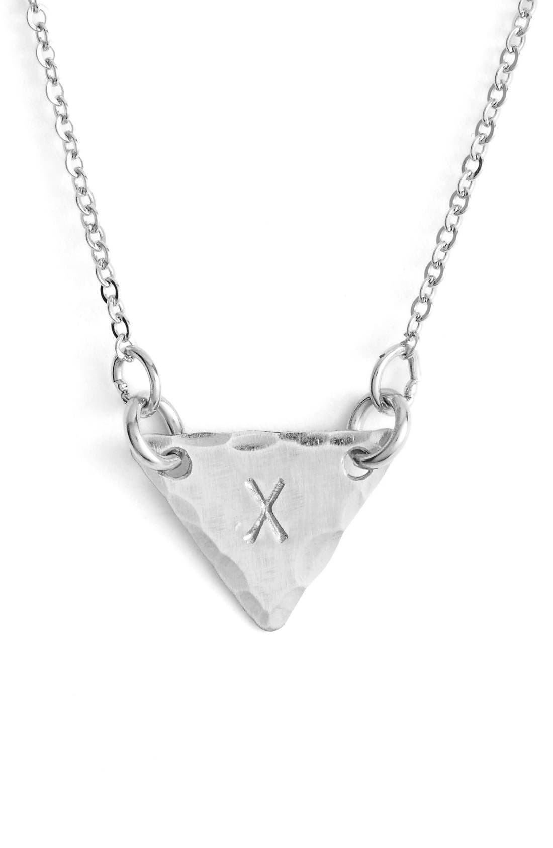 Sterling Silver Initial Mini Triangle Necklace,                             Main thumbnail 24, color,