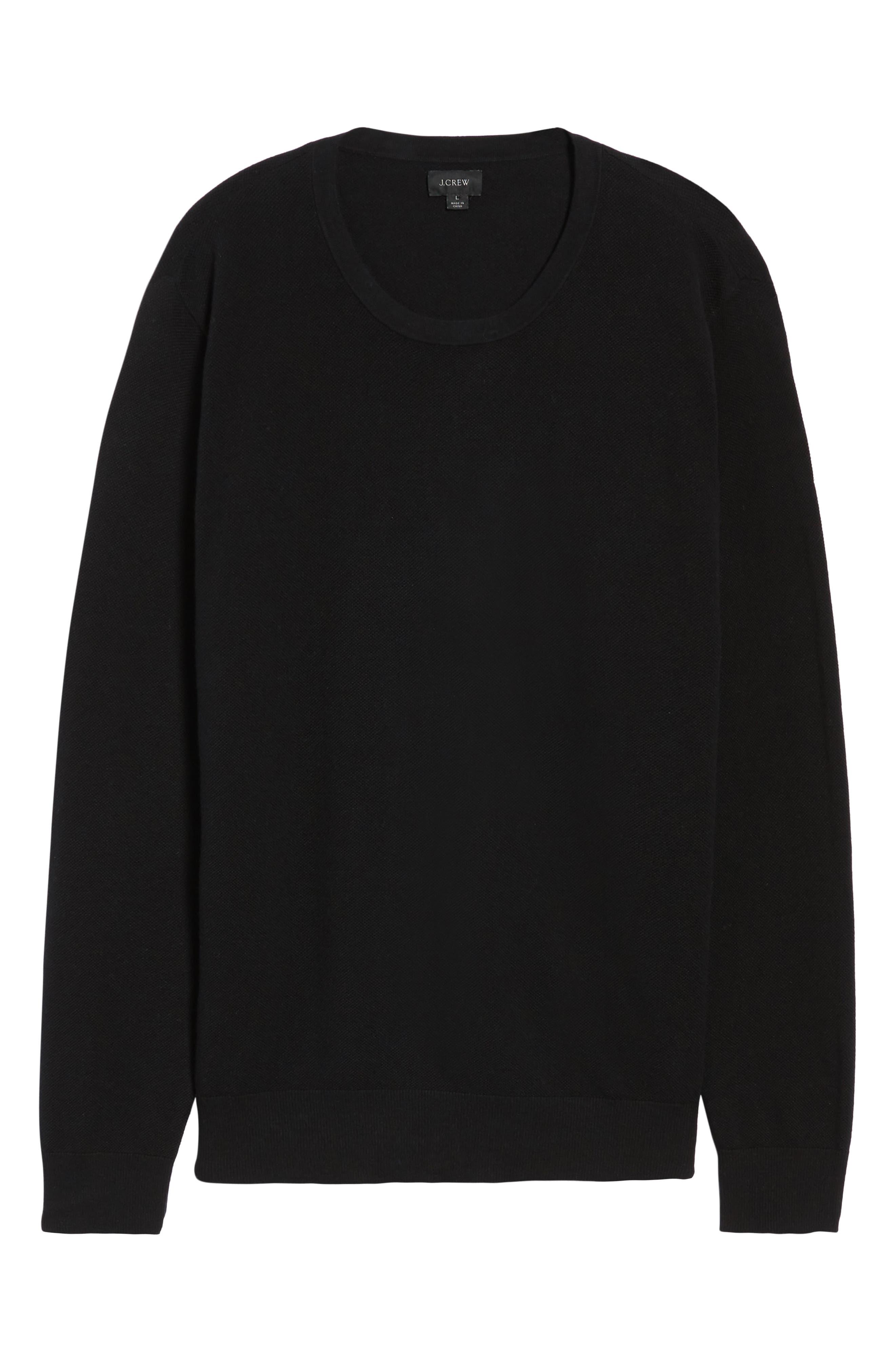Cotton & Cashmere Piqué Crewneck Sweater,                             Alternate thumbnail 6, color,                             001