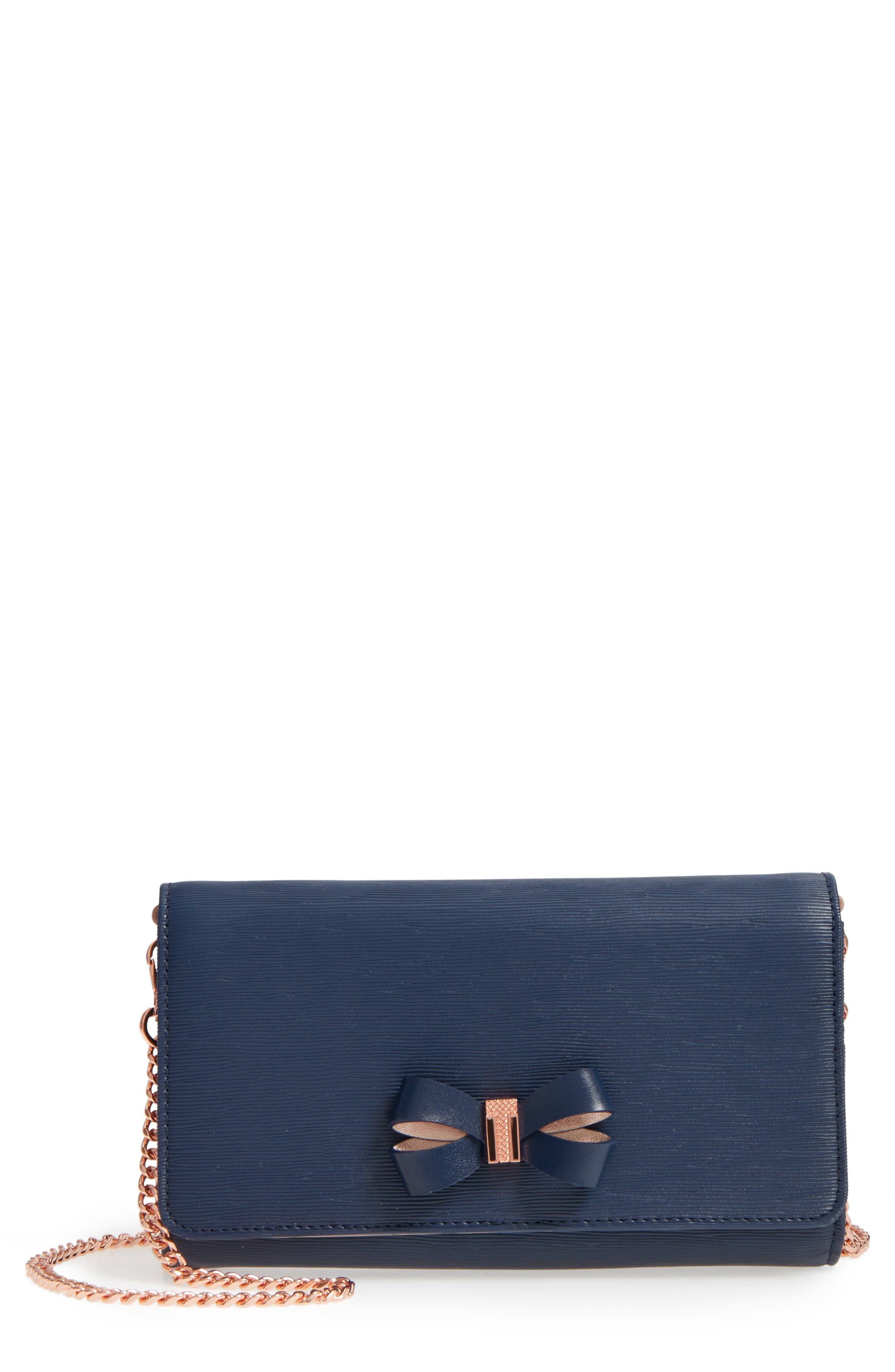 Melisia Bow Matinée Wallet on a Chain,                             Main thumbnail 2, color,