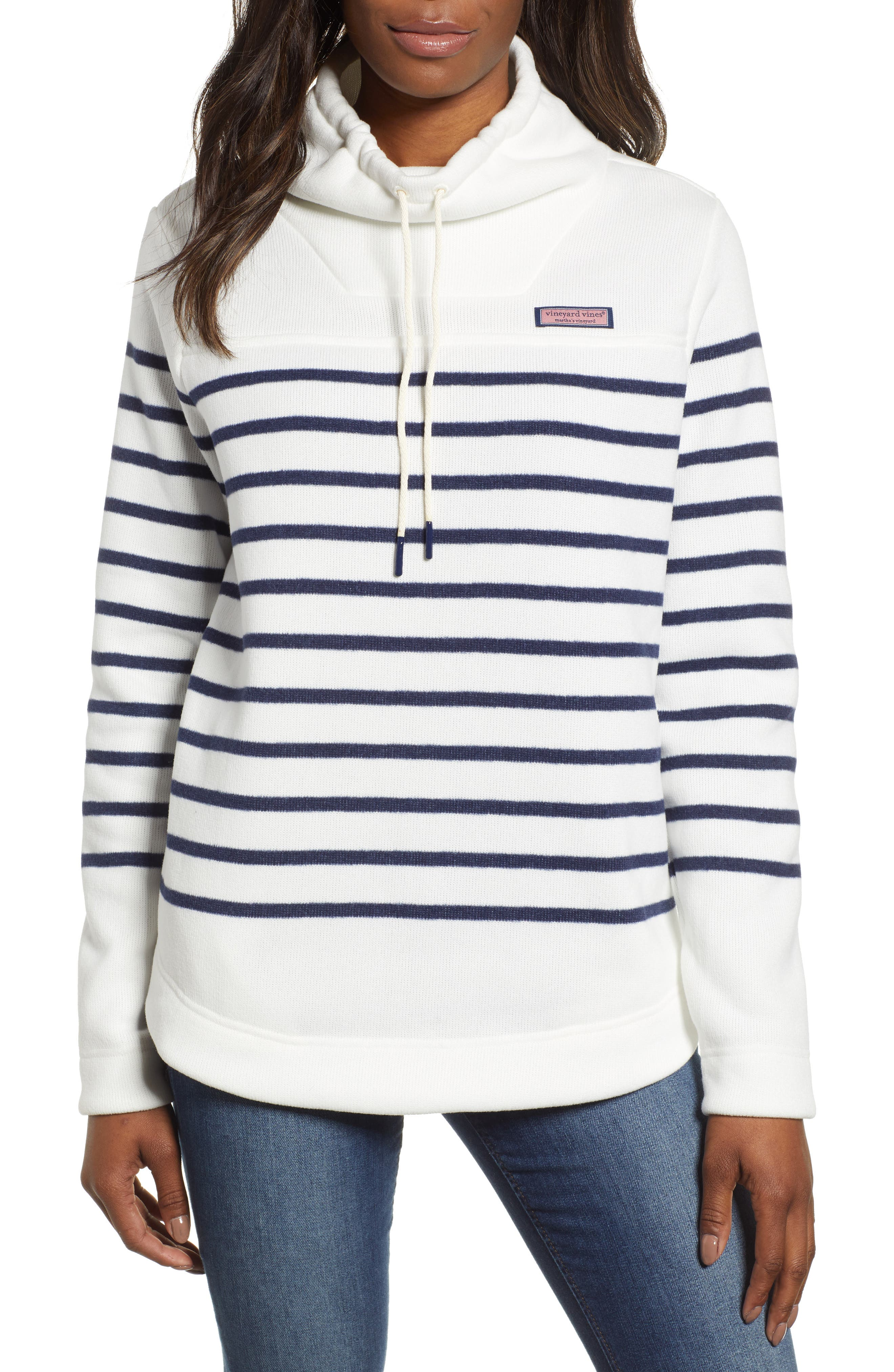 Funnel Neck Stripe Sweater,                             Main thumbnail 1, color,                             MARSHMALLOW