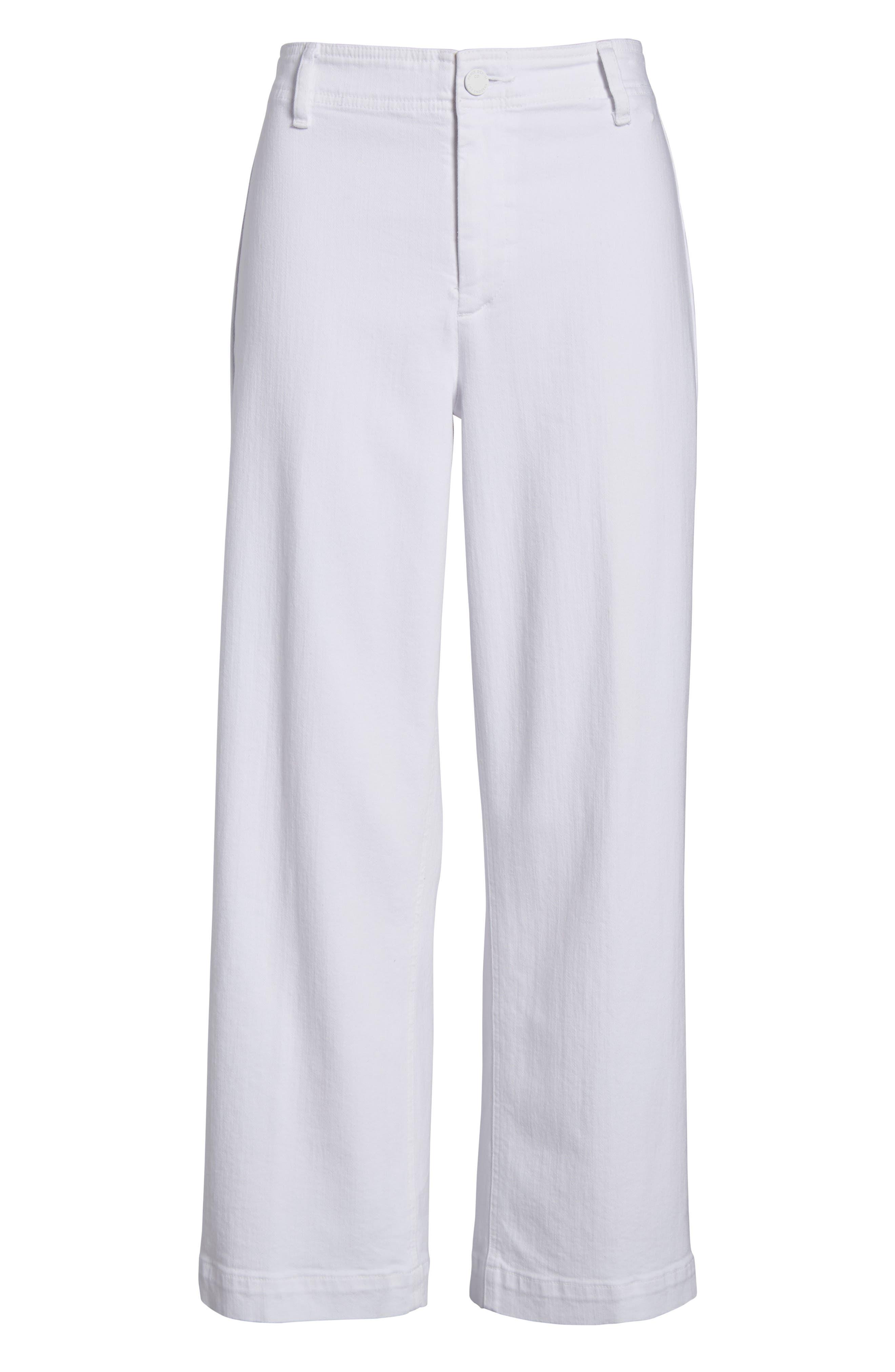 Nellie Clean Front Culotte Jeans,                             Alternate thumbnail 7, color,                             CRISP WHITE