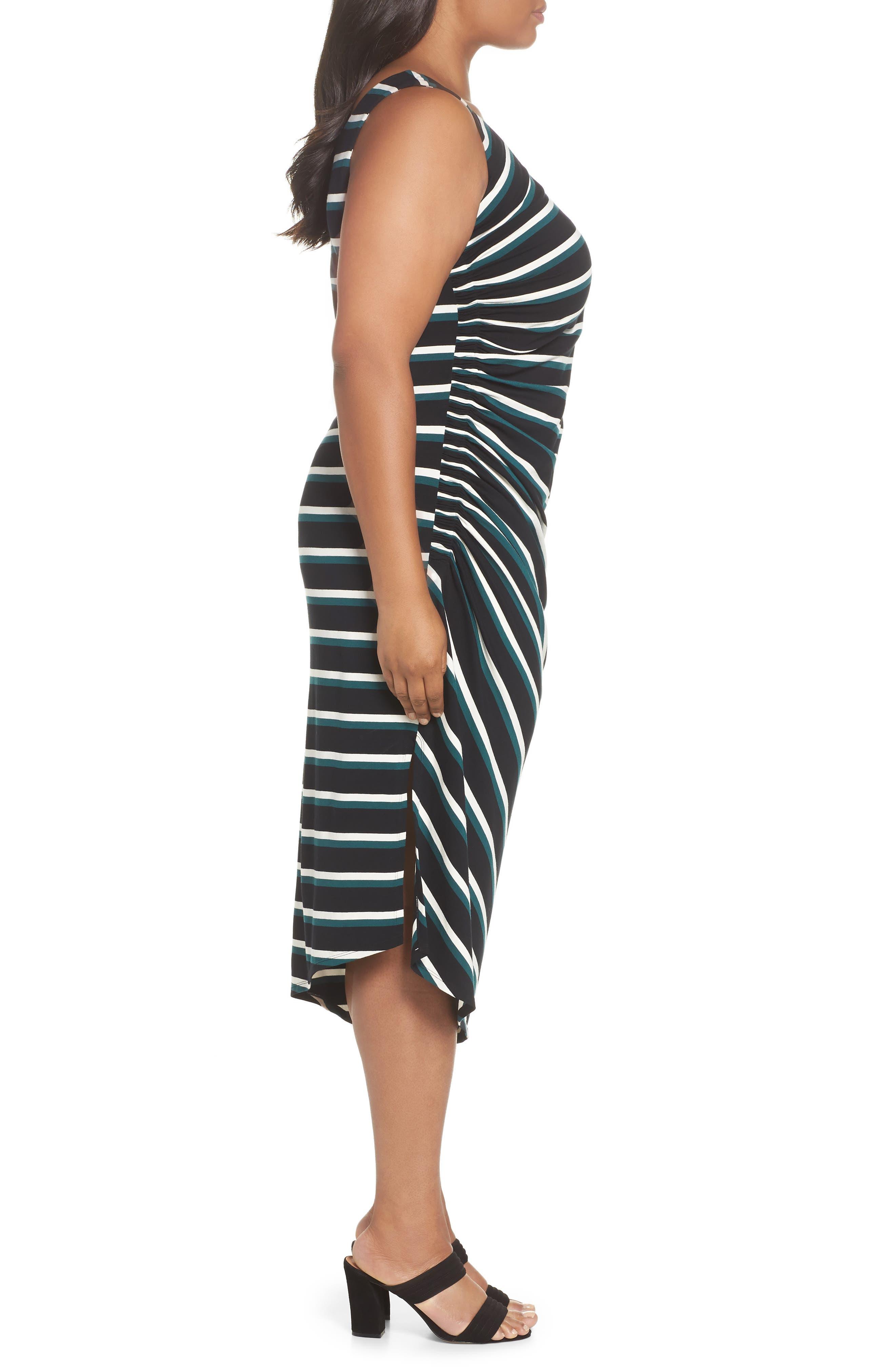 Side Ruched Stripe Tank Dress,                             Alternate thumbnail 3, color,                             300