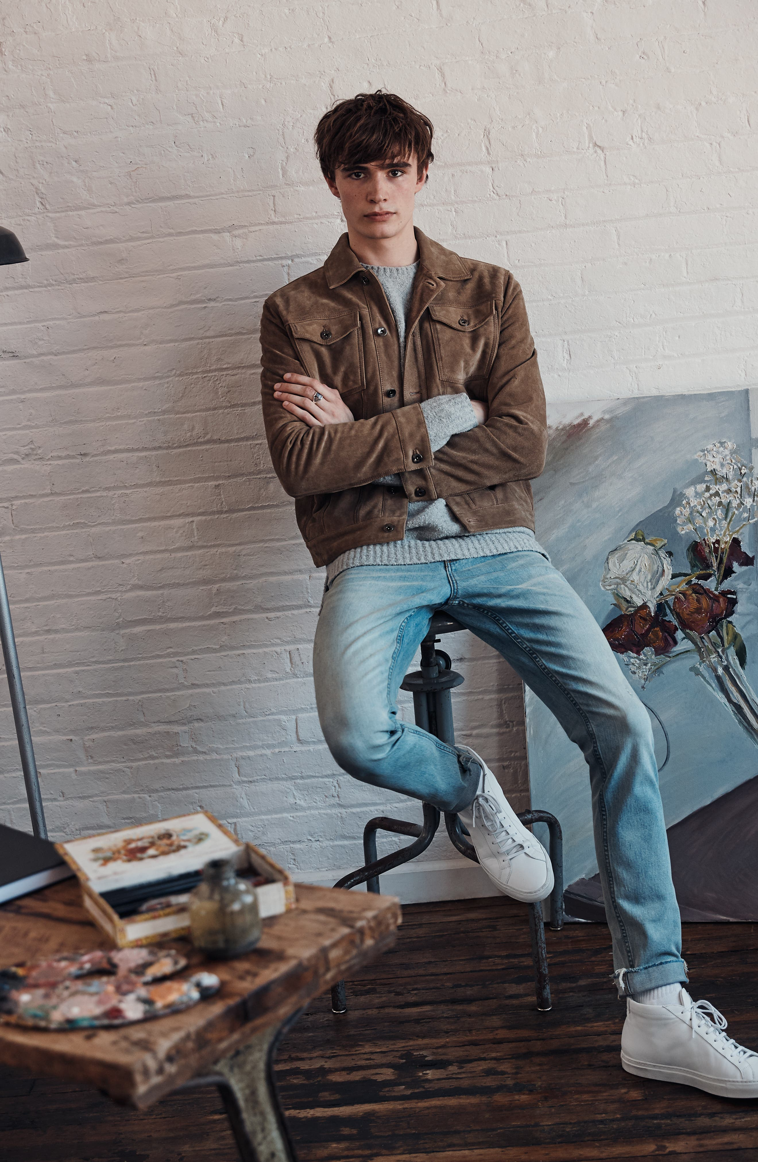 Suede Trucker Jacket,                             Alternate thumbnail 9, color,                             BROWN OTTER