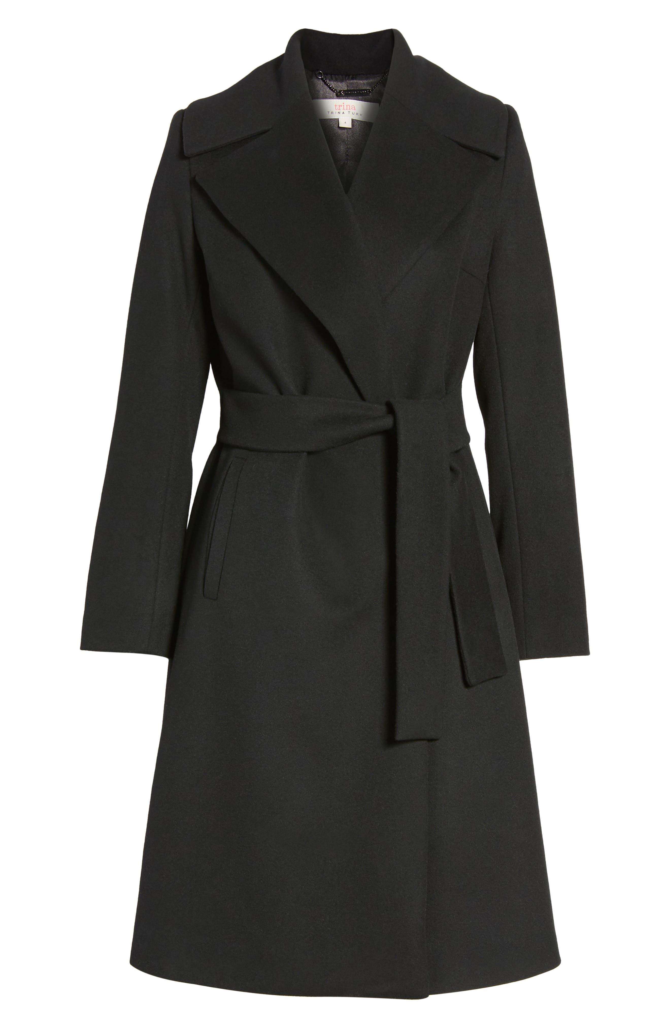 Luna Wool Blend Wrap Coat,                             Alternate thumbnail 5, color,                             001