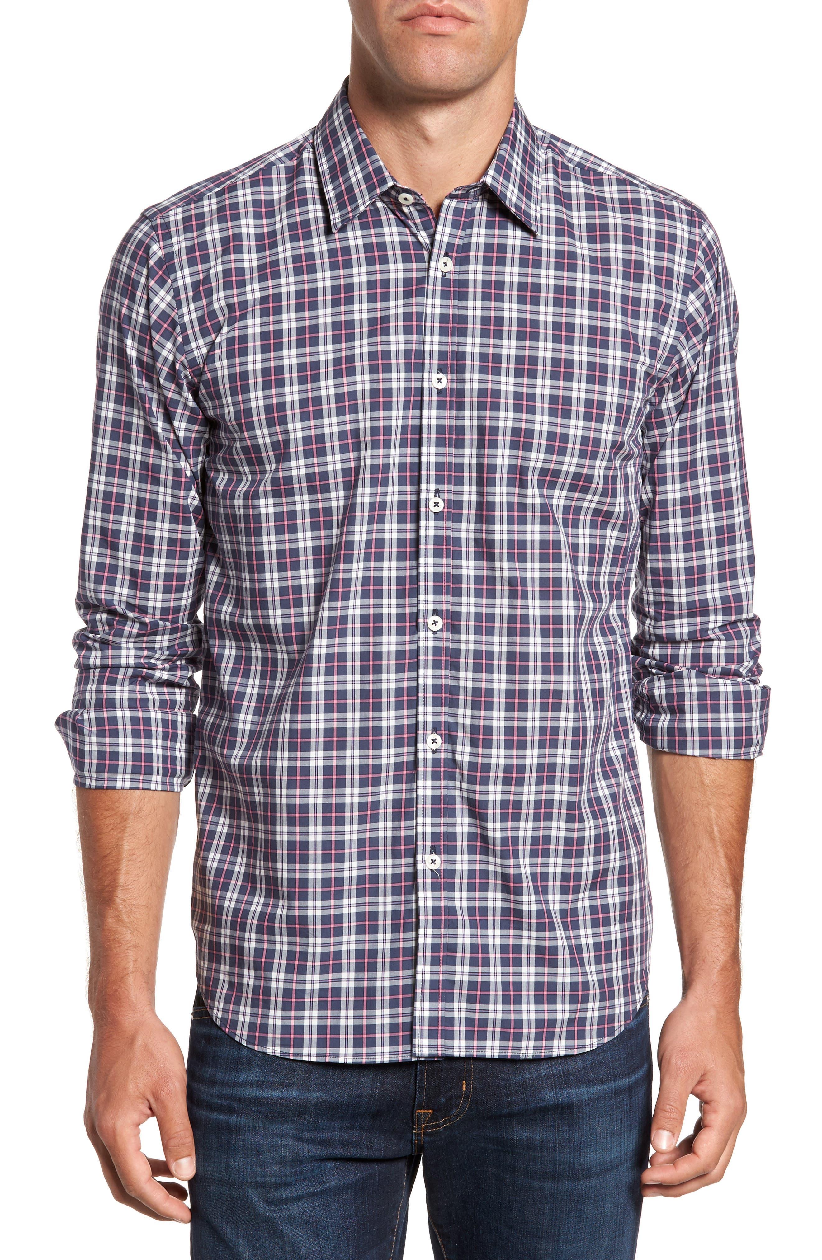 Slim Fit Plaid Sport Shirt,                         Main,                         color, 024