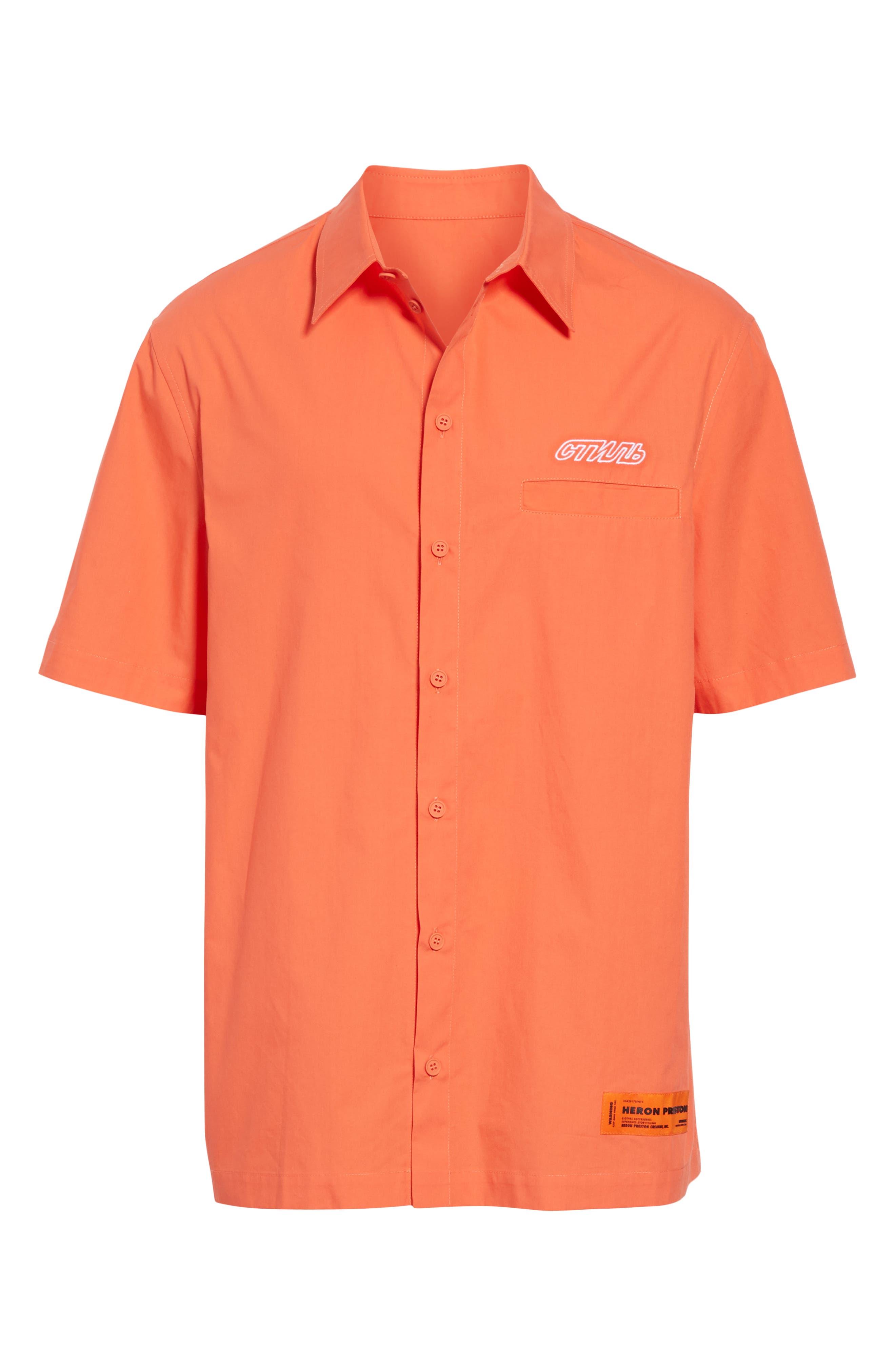 Woven Shirt,                             Alternate thumbnail 6, color,                             ORANGE