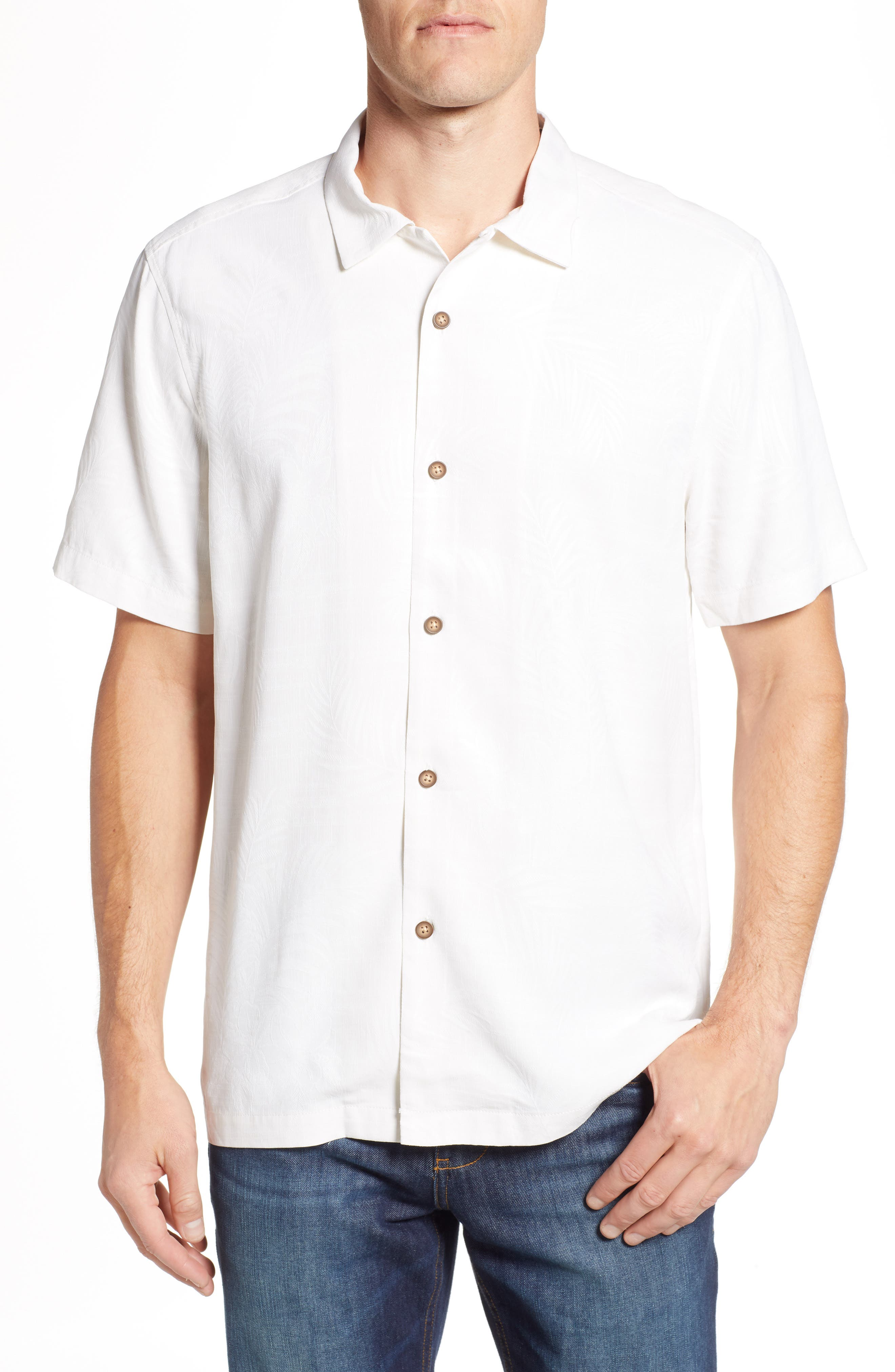 TOMMY BAHAMA Tailgate Club Embroidered Silk Camp Shirt, Main, color, 100