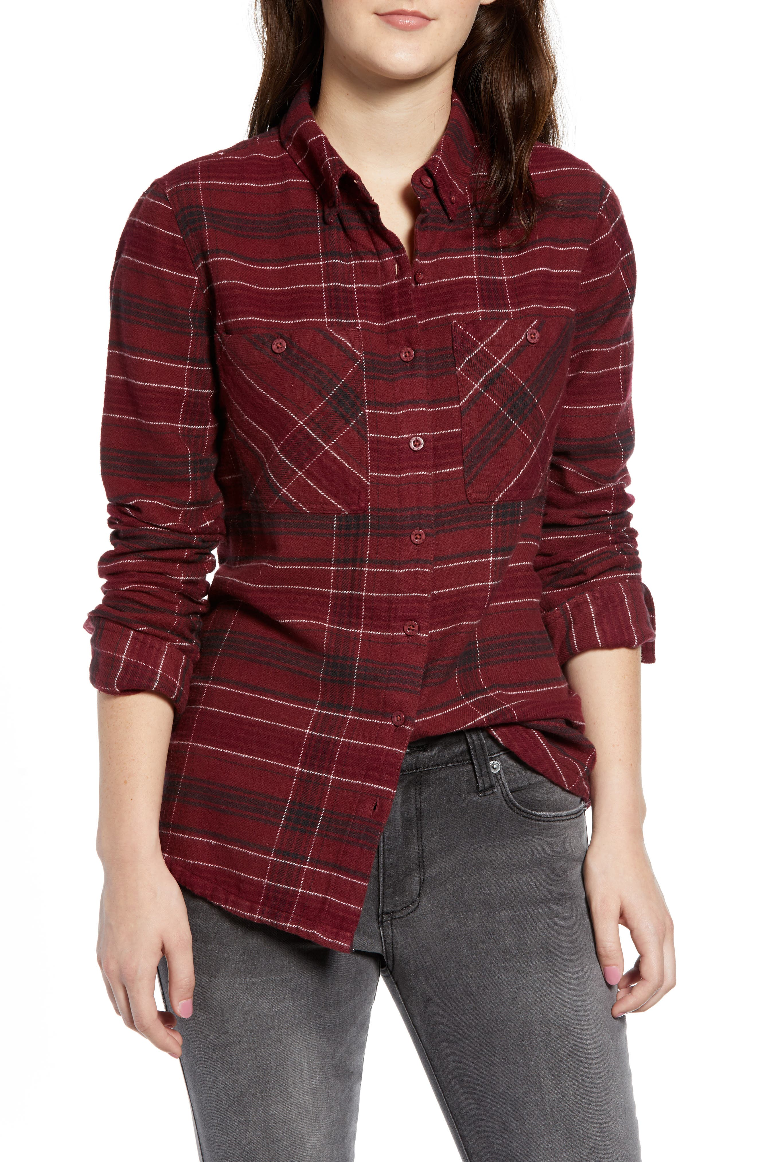 Rvca Roam Plaid Flannel Shirt, Red
