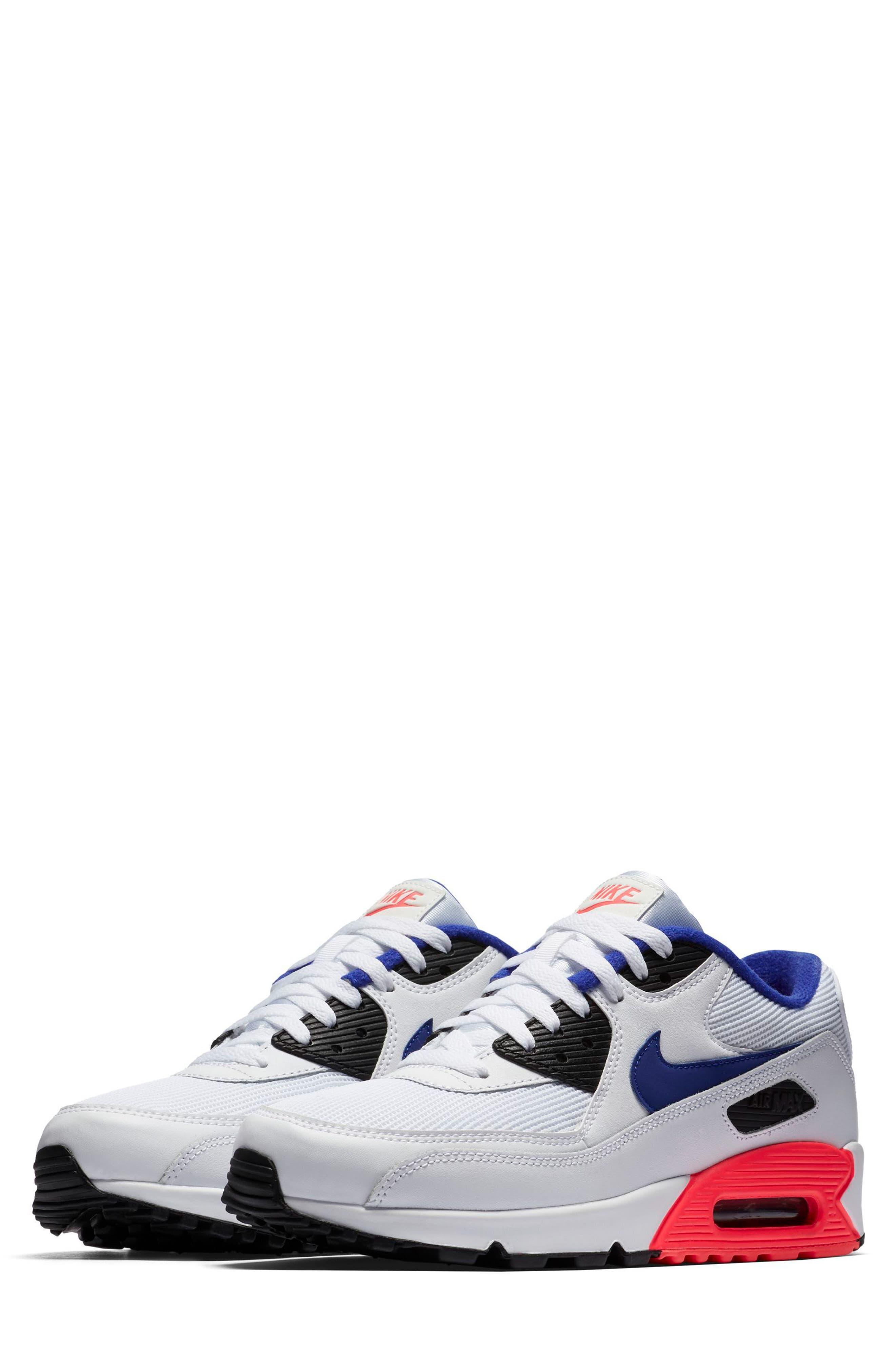 Air Max 90 Essential Sneaker,                         Main,                         color, WHITE/ ULTRAMARINE