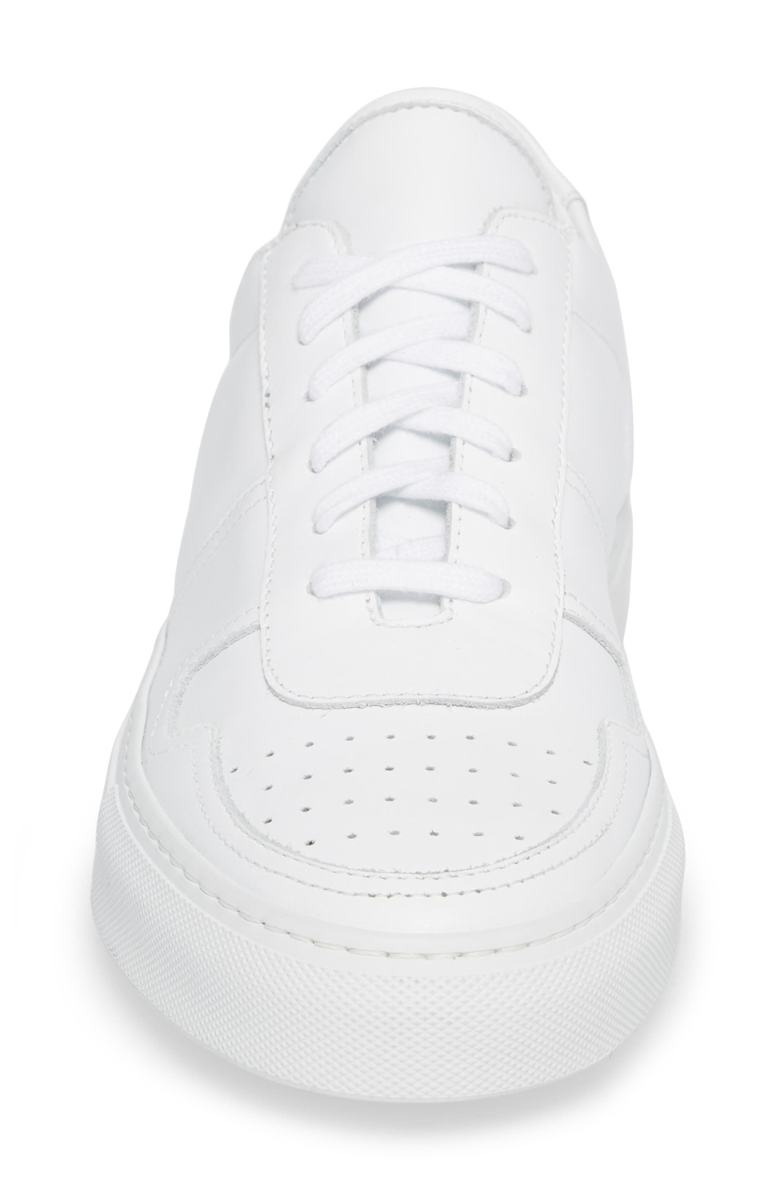 Bball Low Top Sneaker,                             Alternate thumbnail 4, color,                             WHITE LEATHER