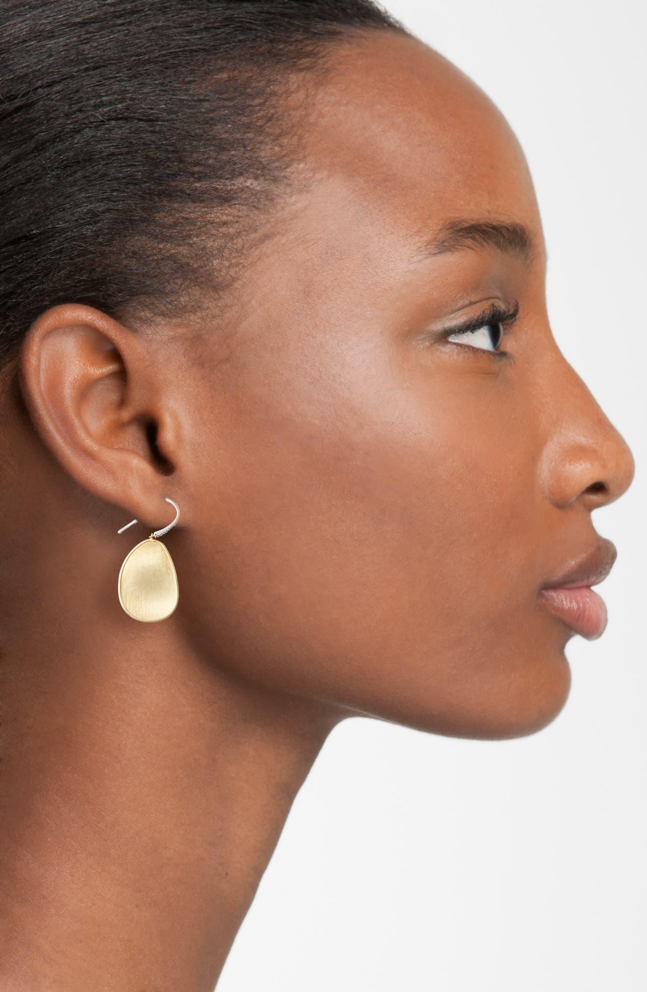 Lunaria Diamond & Gold Drop Earrings,                             Alternate thumbnail 2, color,                             YELLOW GOLD