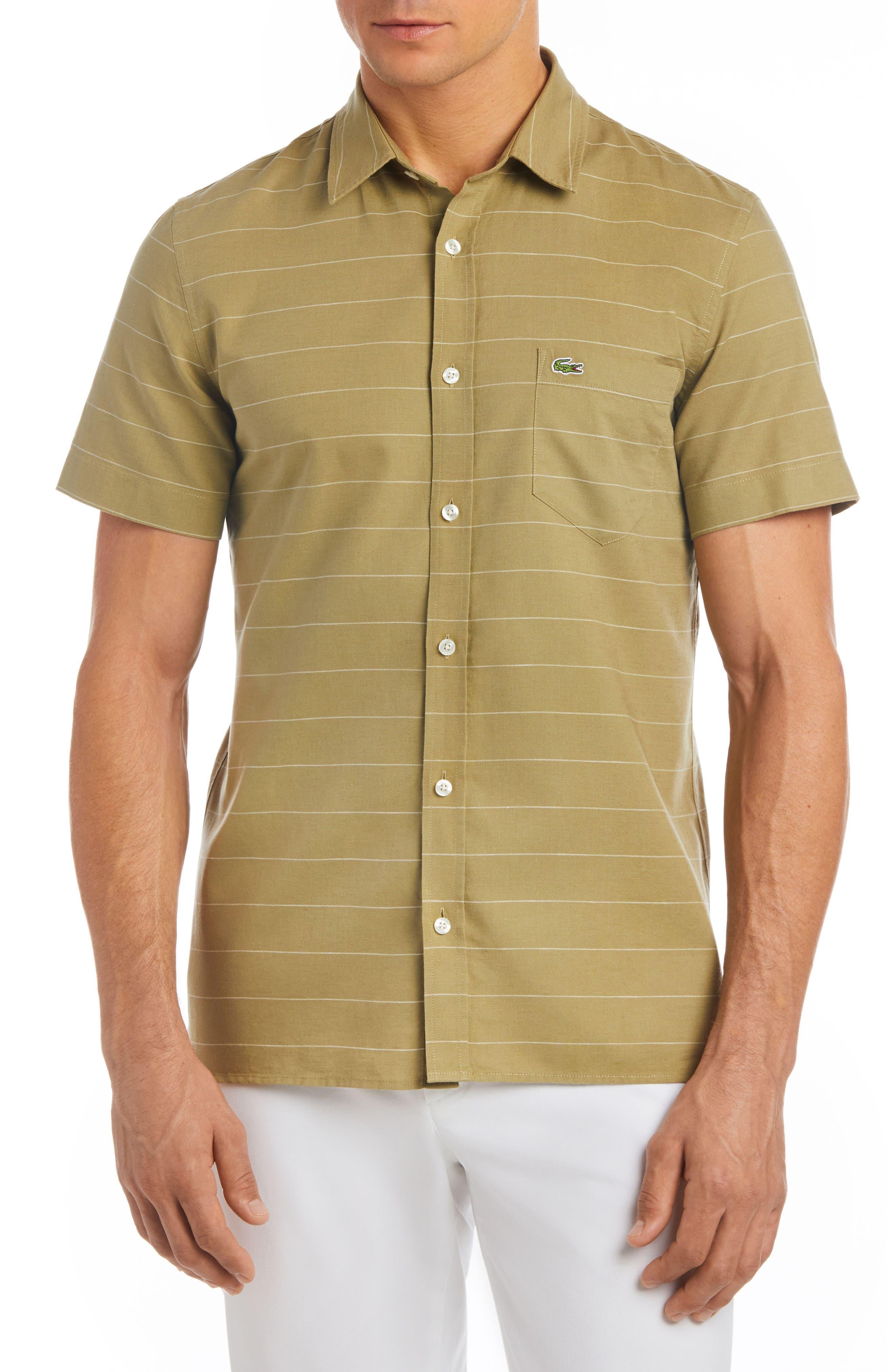 Slim Fit Stripe Cotton & Linen Sport Shirt,                             Main thumbnail 2, color,