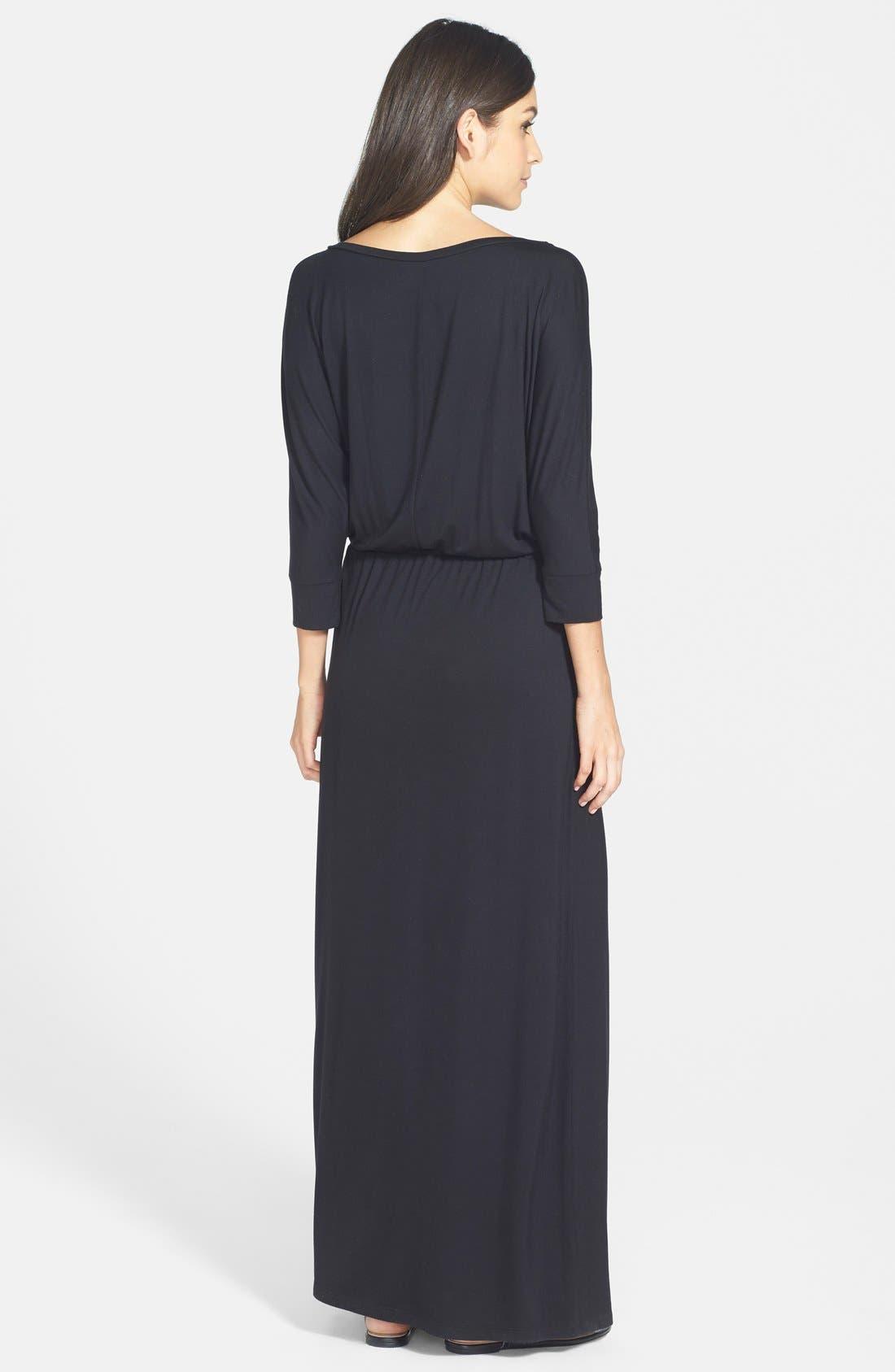 Dolman Sleeve Maxi Dress,                             Alternate thumbnail 3, color,                             001