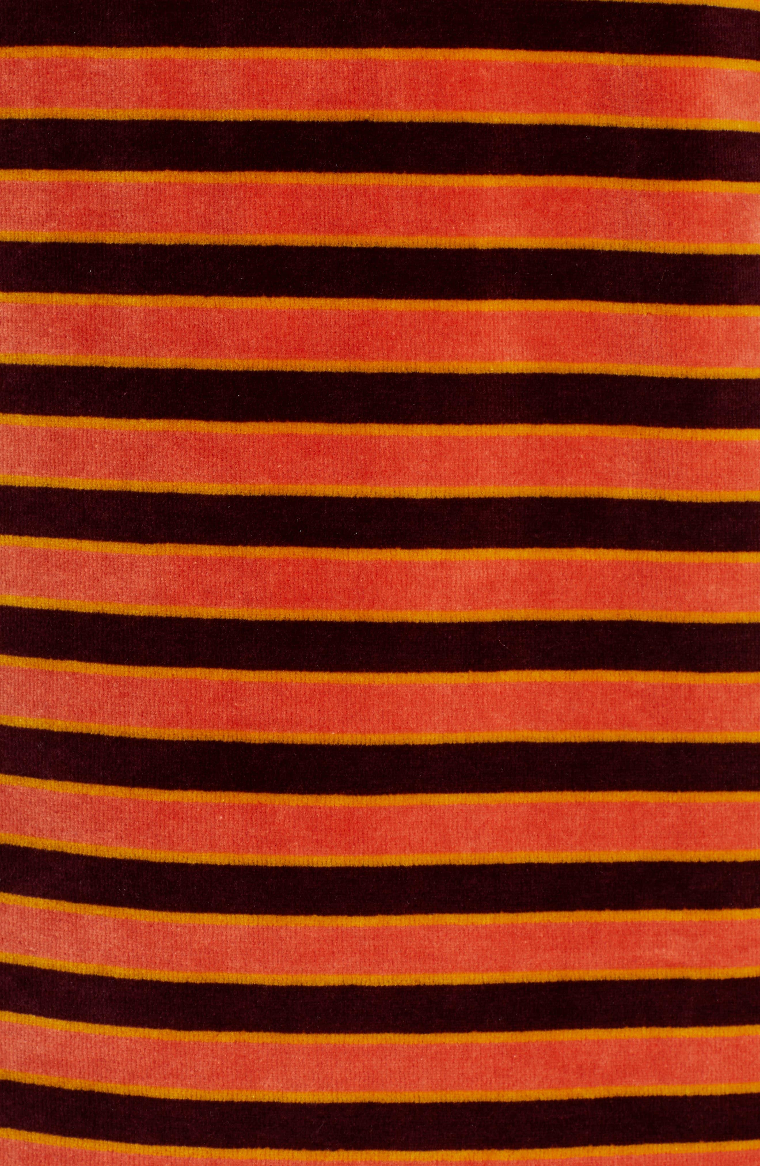 Striped Short Sleeve Velour Dress,                             Alternate thumbnail 6, color,                             ORANGE BURGUNDY STRIPE