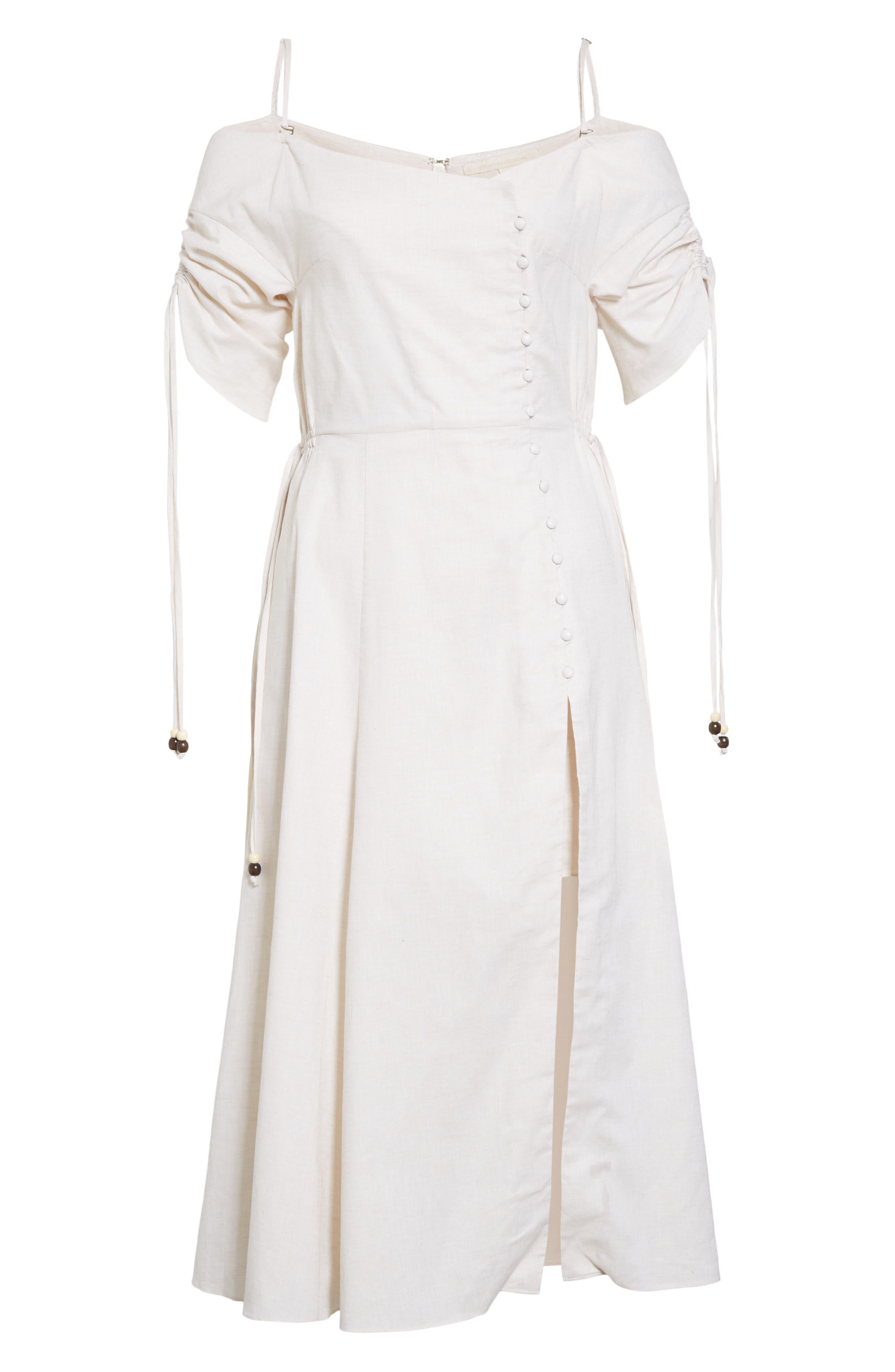 JONATHAN SIMKHAI,                             Off the Shoulder Cotton & Linen Dress,                             Alternate thumbnail 6, color,                             ECRU