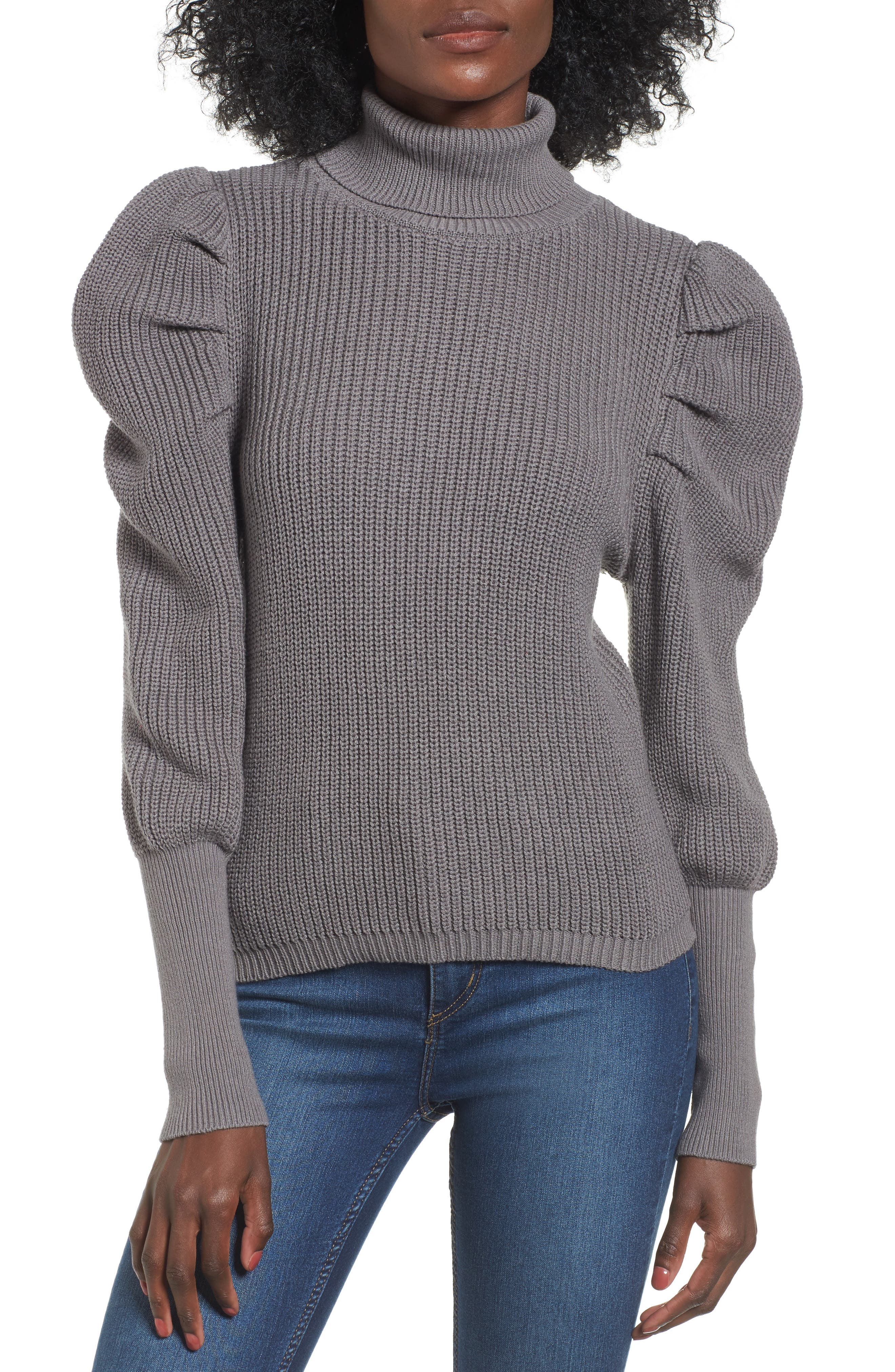Puff Sleeve Turtleneck Sweater,                             Main thumbnail 1, color,                             030