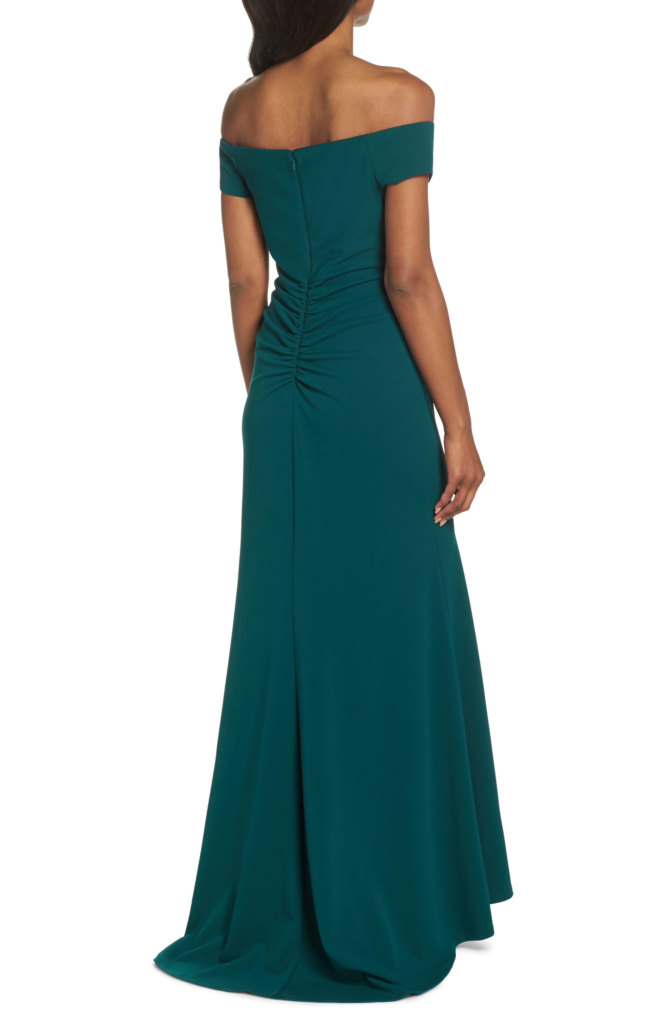 Notched Off the Shoulder Trumpet Gown,                             Alternate thumbnail 2, color,                             EMERALD